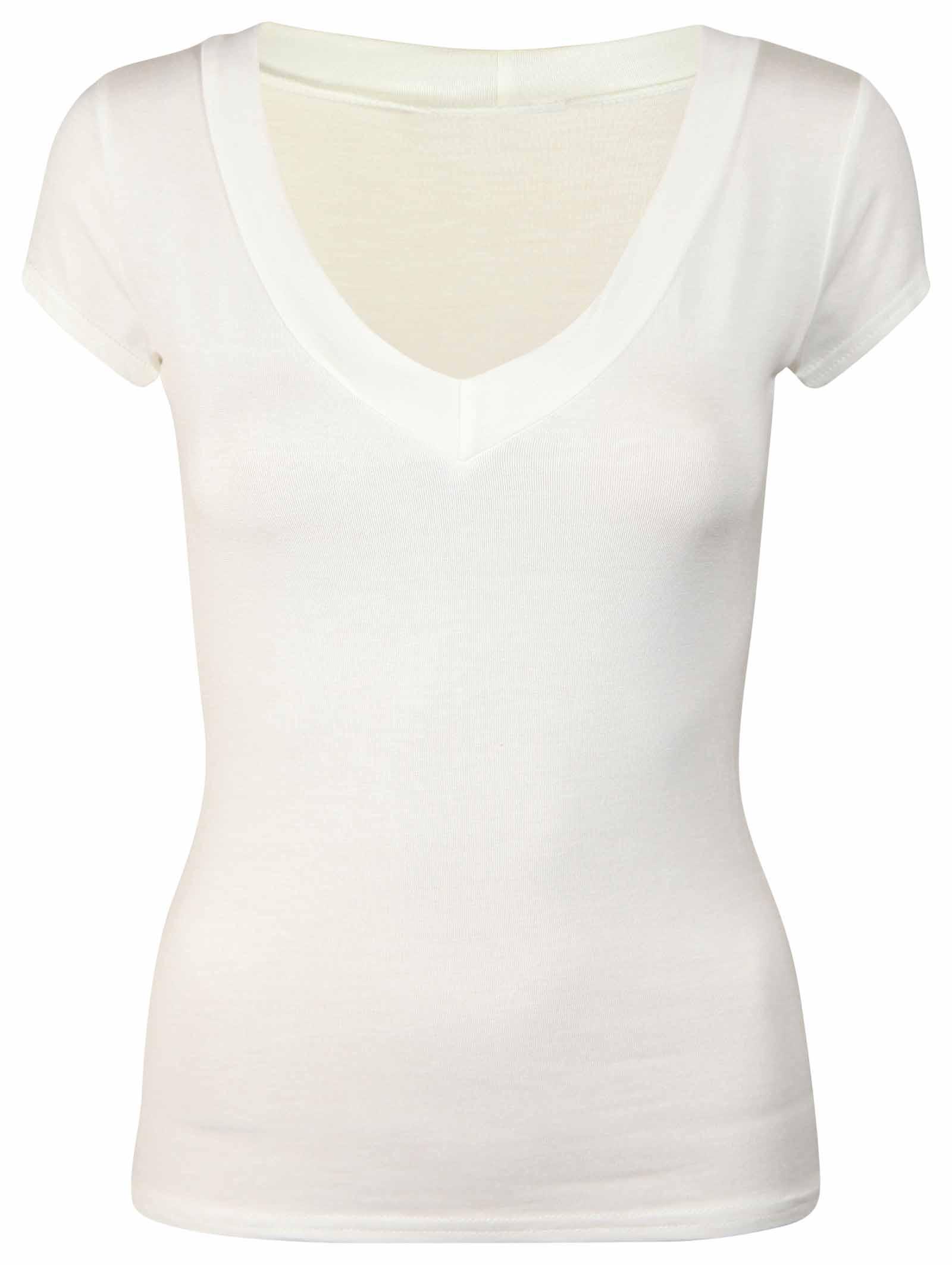 Ladies short cap sleeve plain top womens new stretch for Best white v neck t shirt
