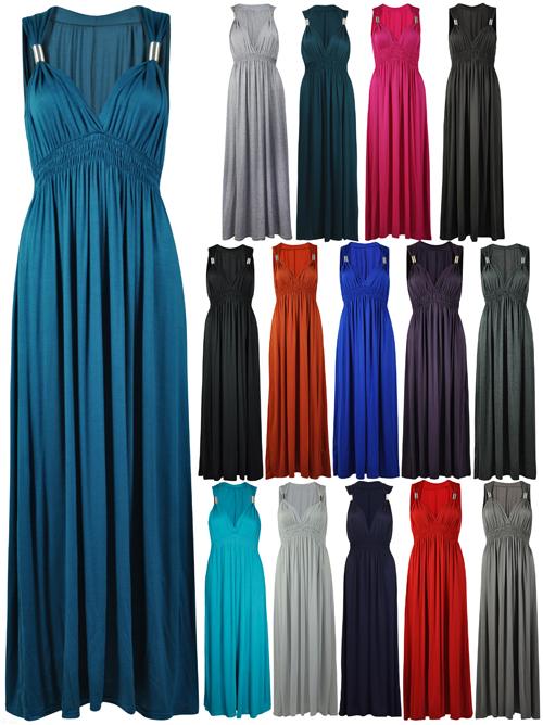 New Ladies Long Stretch Womens Maxi Dress Size 8 16 Ebay