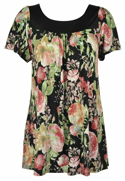 NEW-LADIES-STRETCH-LONG-FLORAL-PRINTED-WOMENS-SHORT-SLEEVE-SMOCK-TOP-SIZE-12-30