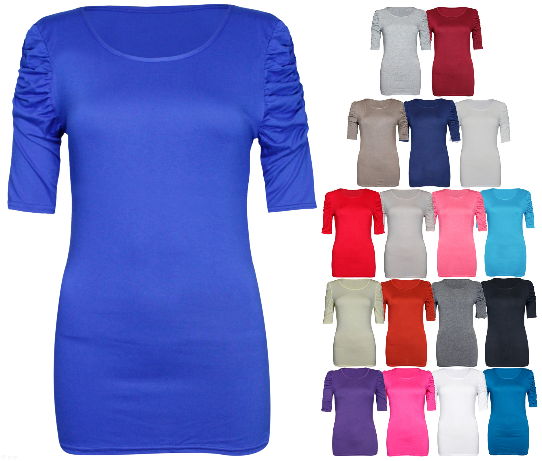 NEW-LADIES-RUCHED-SHORT-SLEEVE-WOMENS-LONG-STRETCH-TOP 縮圖 3