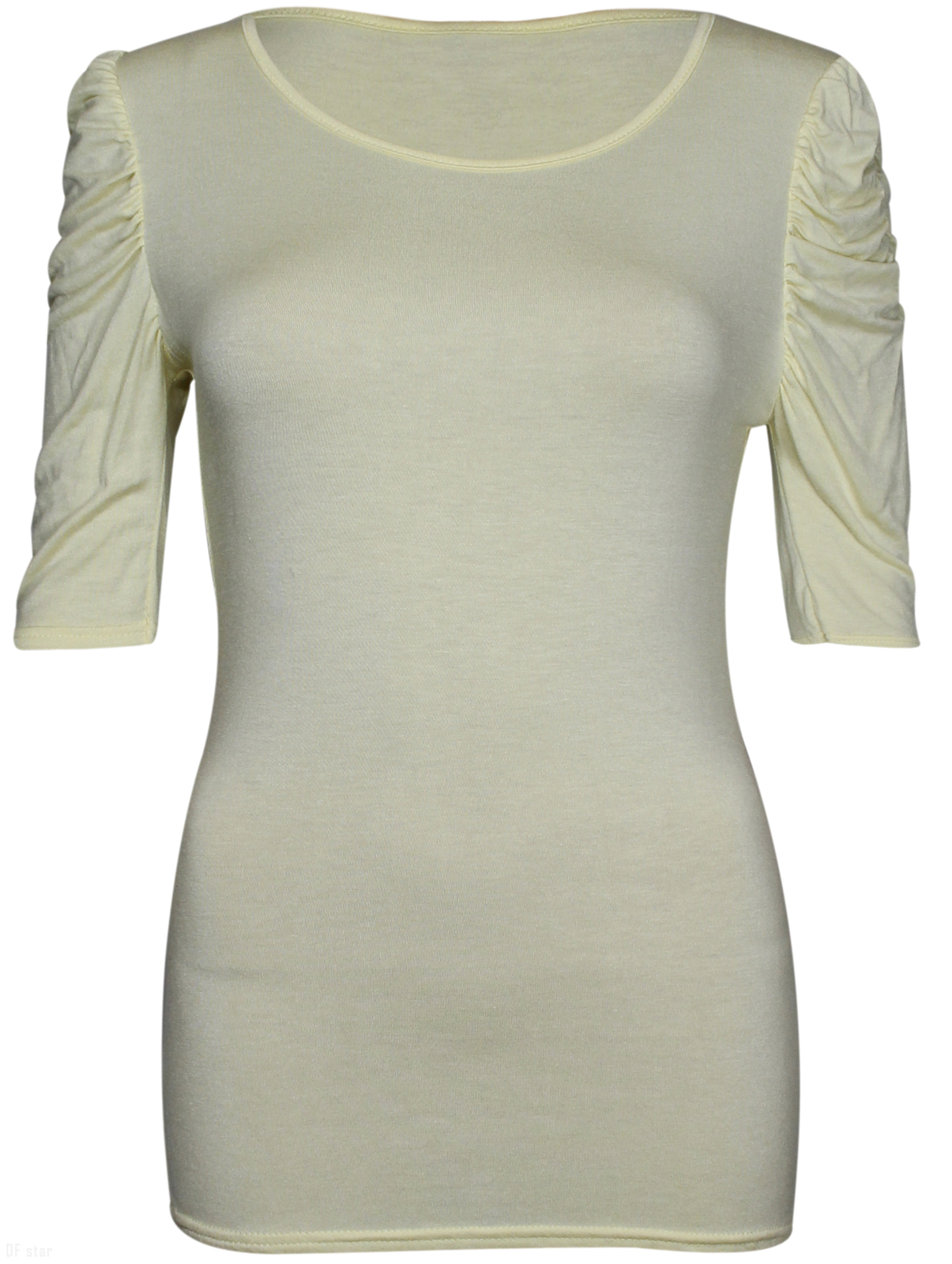 NEW-LADIES-RUCHED-SHORT-SLEEVE-WOMENS-LONG-STRETCH-TOP 縮圖 26