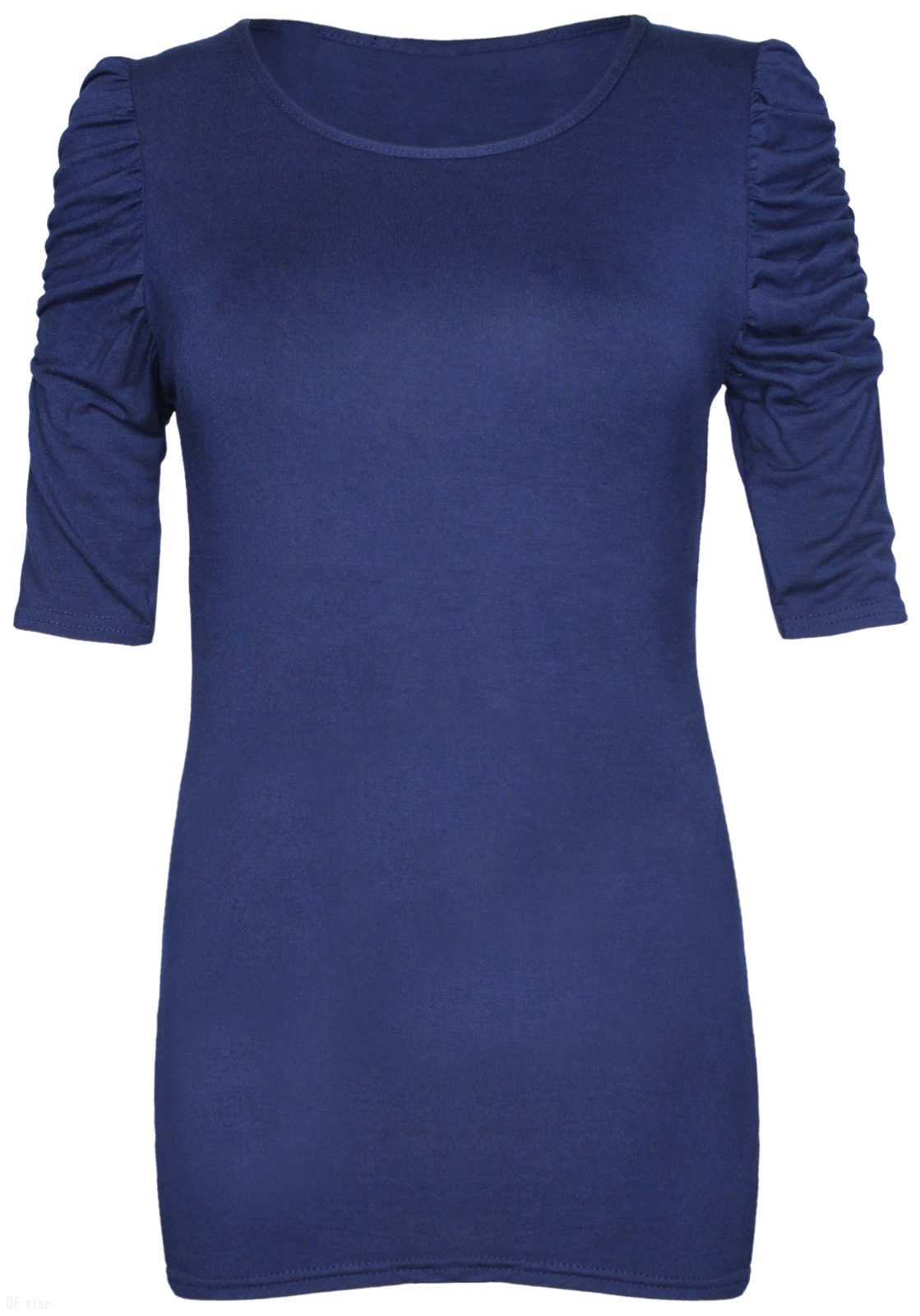 NEW-LADIES-RUCHED-SHORT-SLEEVE-WOMENS-LONG-STRETCH-TOP 縮圖 24