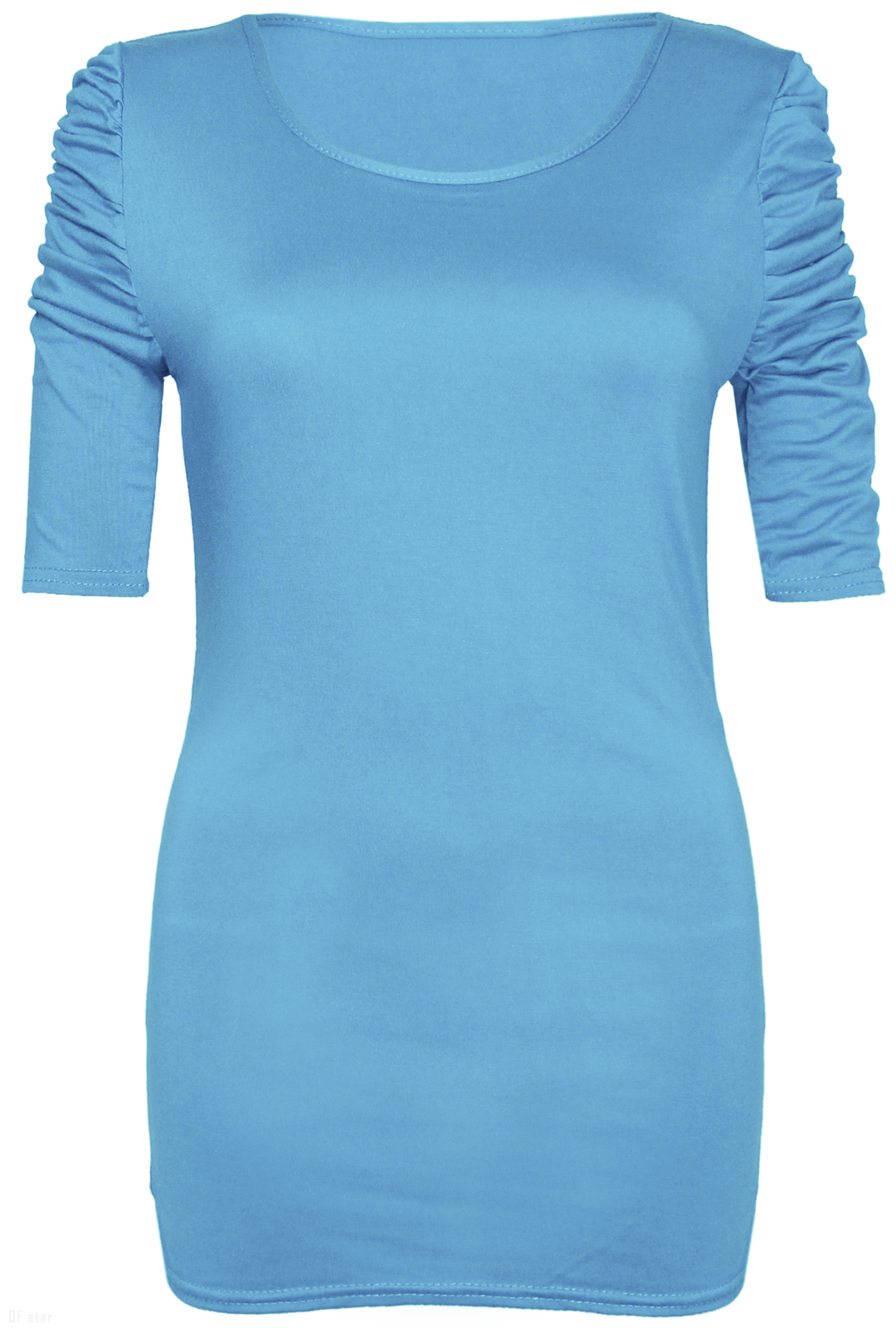 NEW-LADIES-RUCHED-SHORT-SLEEVE-WOMENS-LONG-STRETCH-TOP 縮圖 40