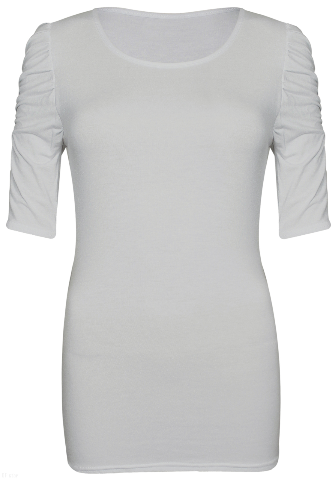 NEW-LADIES-RUCHED-SHORT-SLEEVE-WOMENS-LONG-STRETCH-TOP 縮圖 12