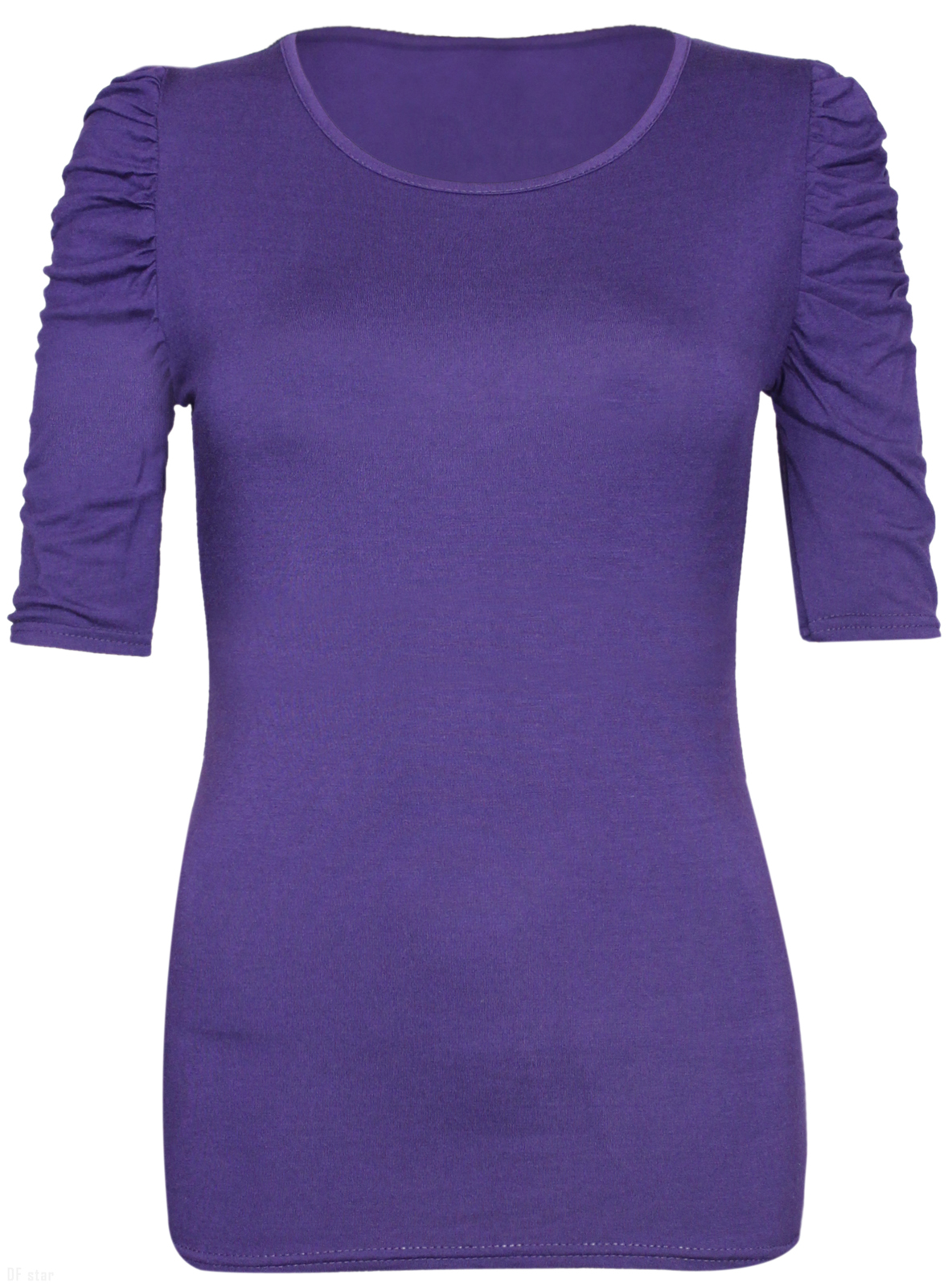 NEW-LADIES-RUCHED-SHORT-SLEEVE-WOMENS-LONG-STRETCH-TOP 縮圖 30