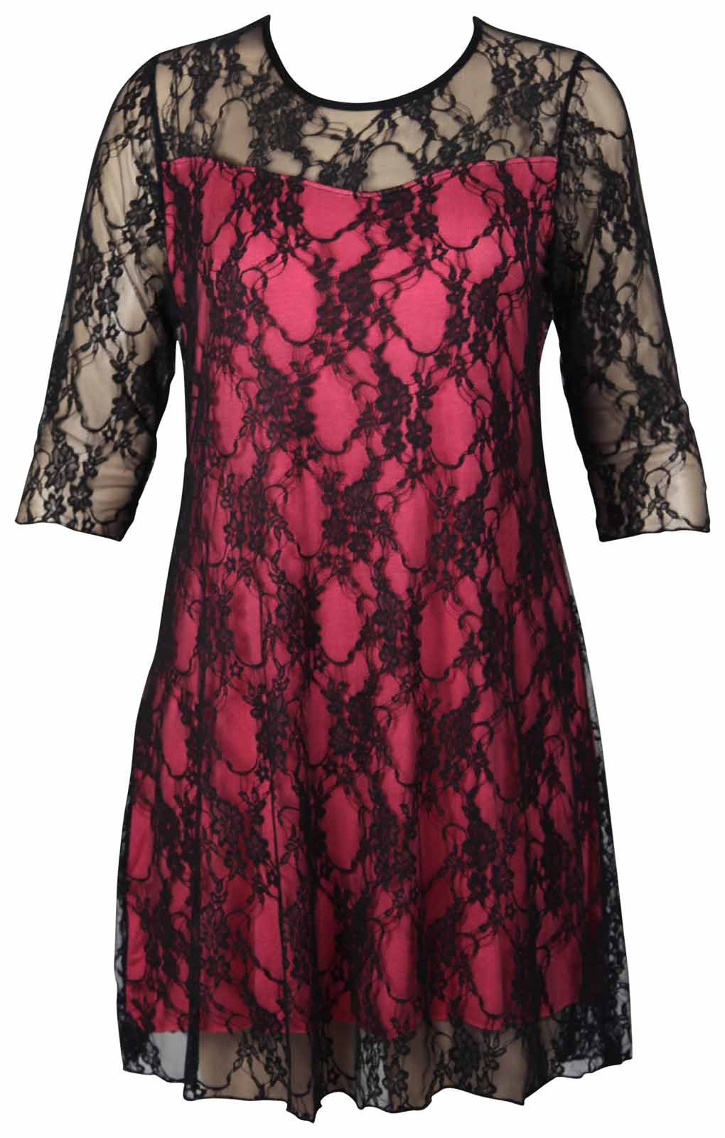Womens Floral Stretch Lace Lined Ladies 3/4 Sleeve Plus Size Evening ...