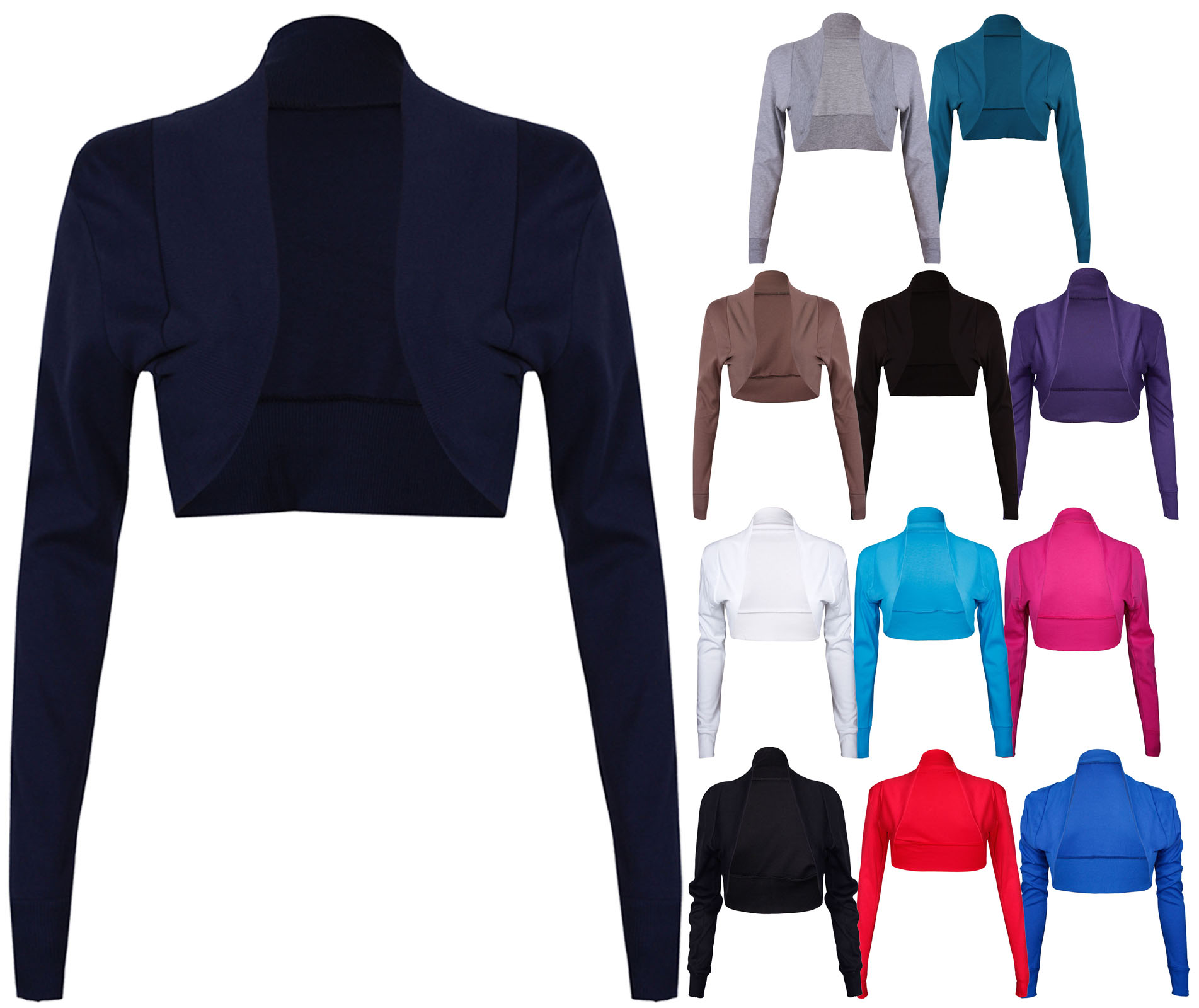 NEW-LADIES-LONG-SLEEVE-STRETCH-BOLERO-SHRUG-WOMENS-TOP thumbnail 17