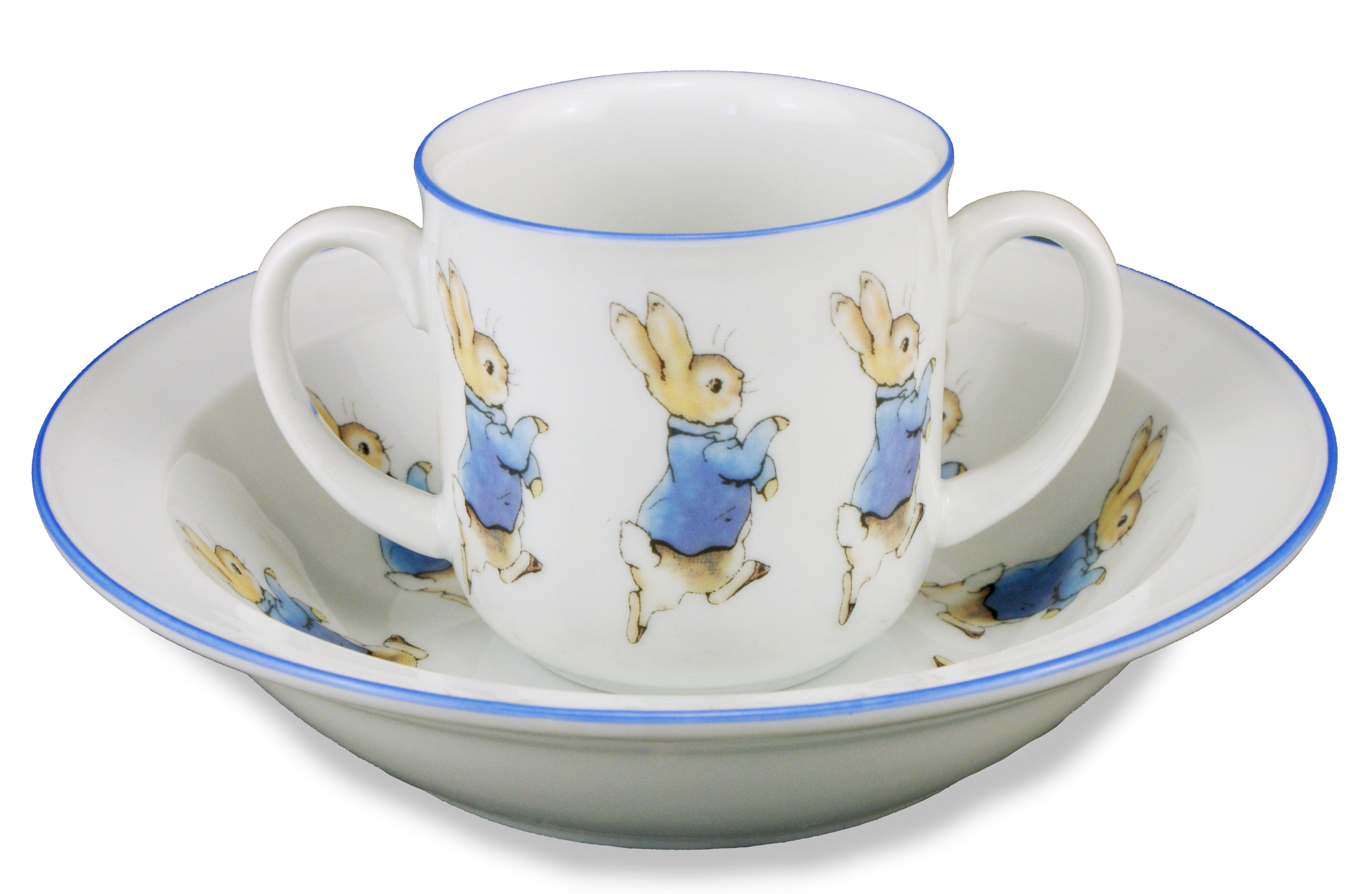 peter rabbit 2 teile porzellan geschirrset set 2 griff becher sch ssel ebay. Black Bedroom Furniture Sets. Home Design Ideas