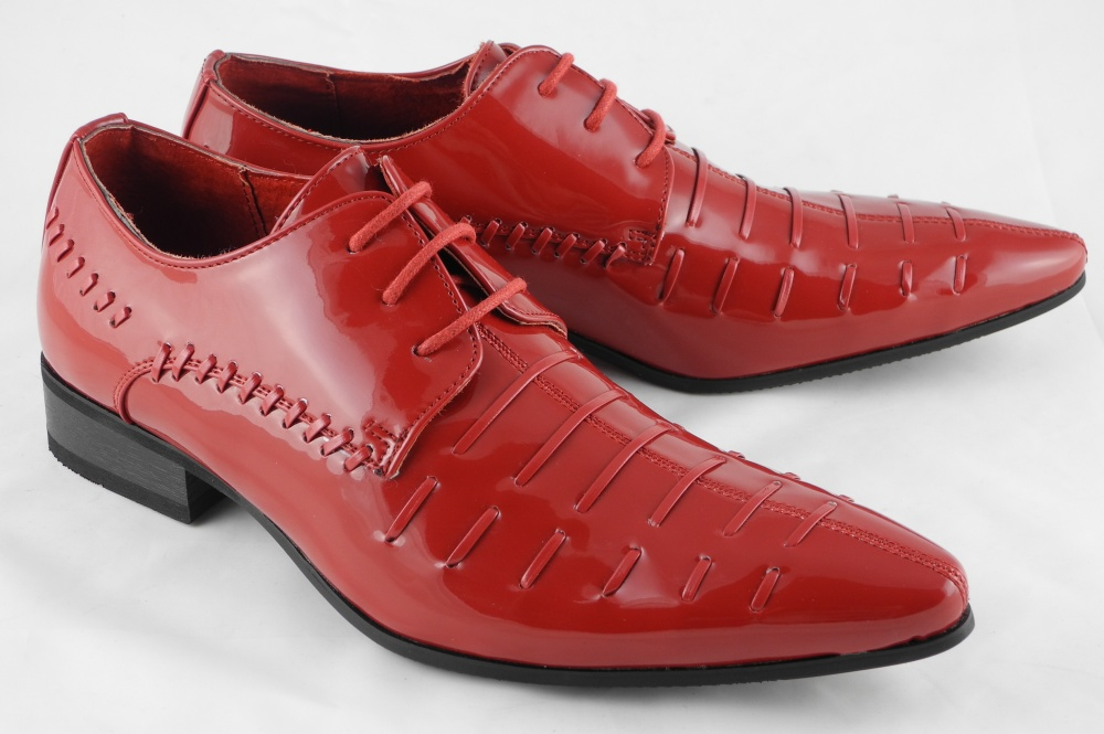 Mens Patent Leather Look Pointed Toe Dress Shoes Black Red Size 6 7 8 9 10 11 12