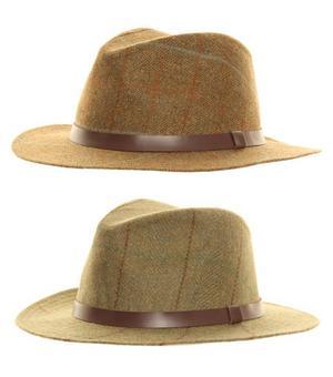 c632deea Item Details - Mens Hawkins Country 100% Wool Tweed Fedora Hat Teflon Brown  Green Size S M L XL