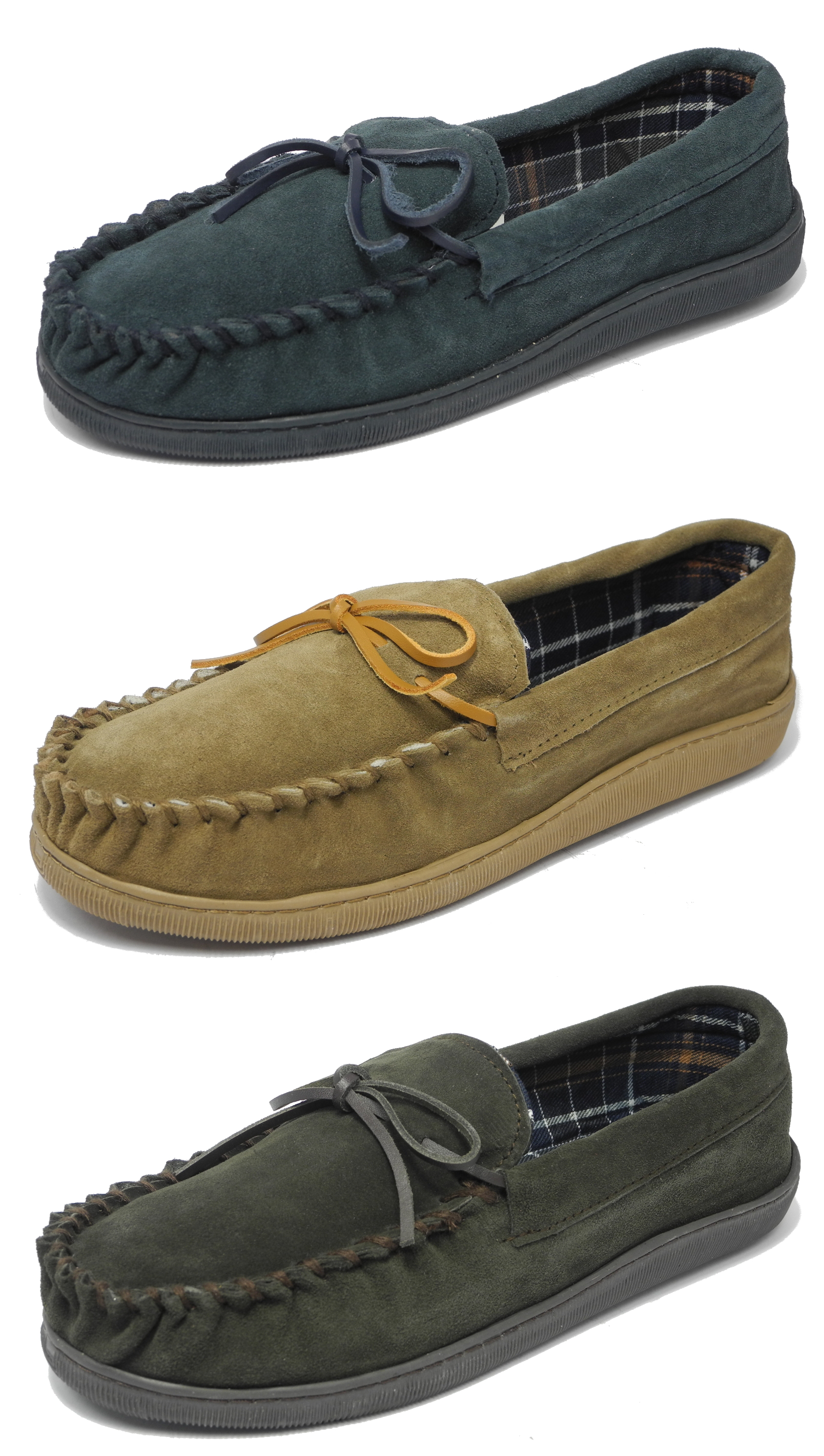 68a756fafbfc Mens Sleepers Real Suede Wide Fit Leather Moccasin Slippers BLUE ...