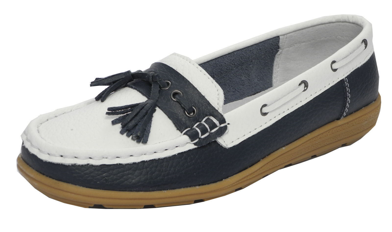 4ed8356204d Womens Ladies Real Leather Boat Deck Shoes Loafers Navy Blue White Sz 4 5 6  7 8