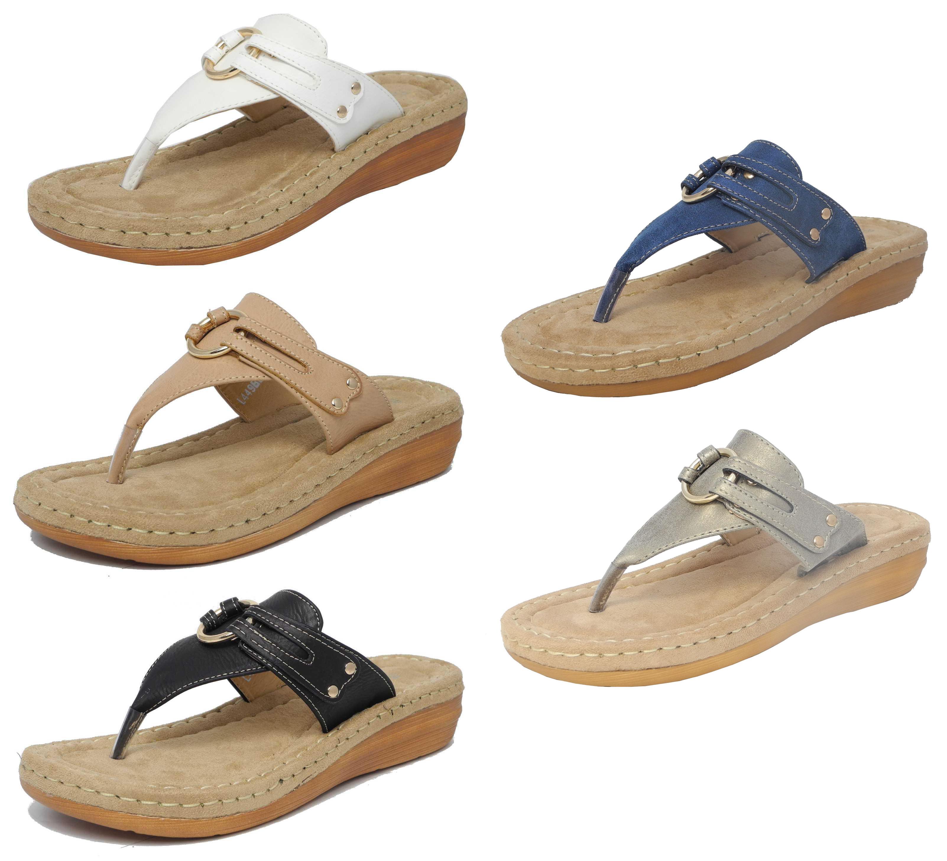 0a7f5738d05af Womens Ladies Leather Look Toe Post Flip Flops Cushion Comfort Sandals Size  3-8