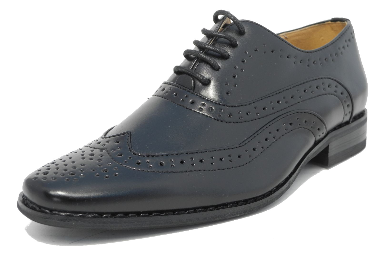Boys Navy Tan Leather Lined Lace Up Smart Brogues Gatsby Two Tone Shoes 10-5.5