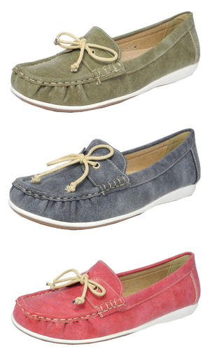 Womens Ladies Leather Lined Boat Deck Shoes Loafers RED BLUE Size 3 4 5 6 7 8