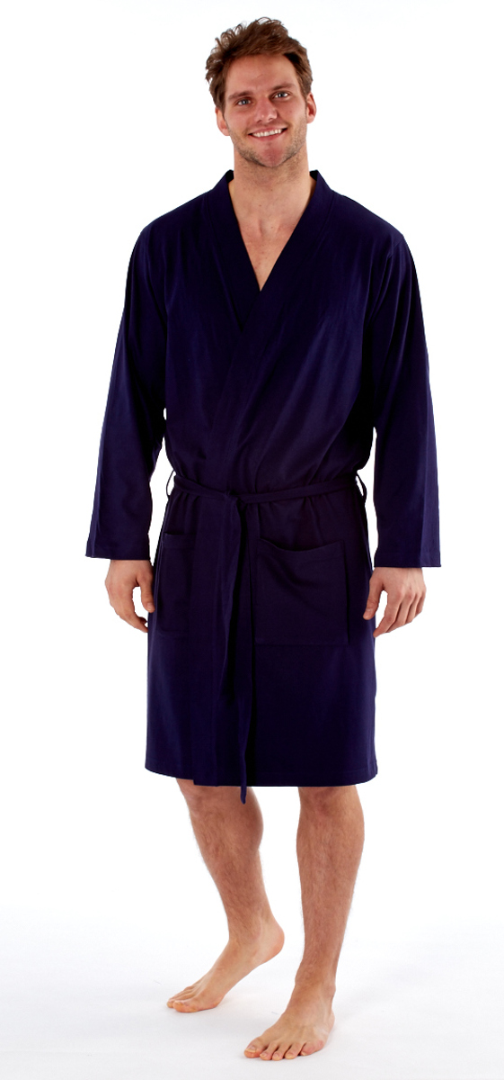 Mens Lightweight Polyester Cotton Jersey Dressing Gown Kimono Robe ...