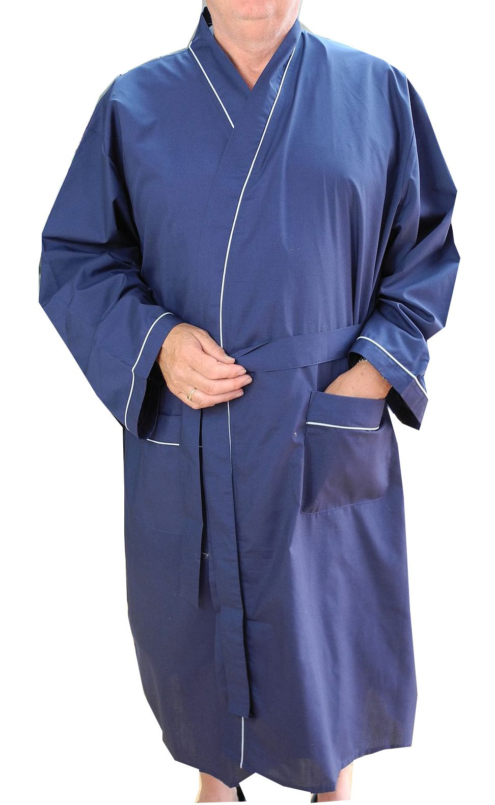 Mens Lightweight Polyester Cotton Dressing Gown Robe Navy Blue Big Sizes 892e9f33c0df