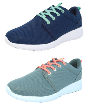 Navy//Mint//Pink Size 3 4 5 6 7 8 Ladies Superlight Memory Foam Lace Up Trainers
