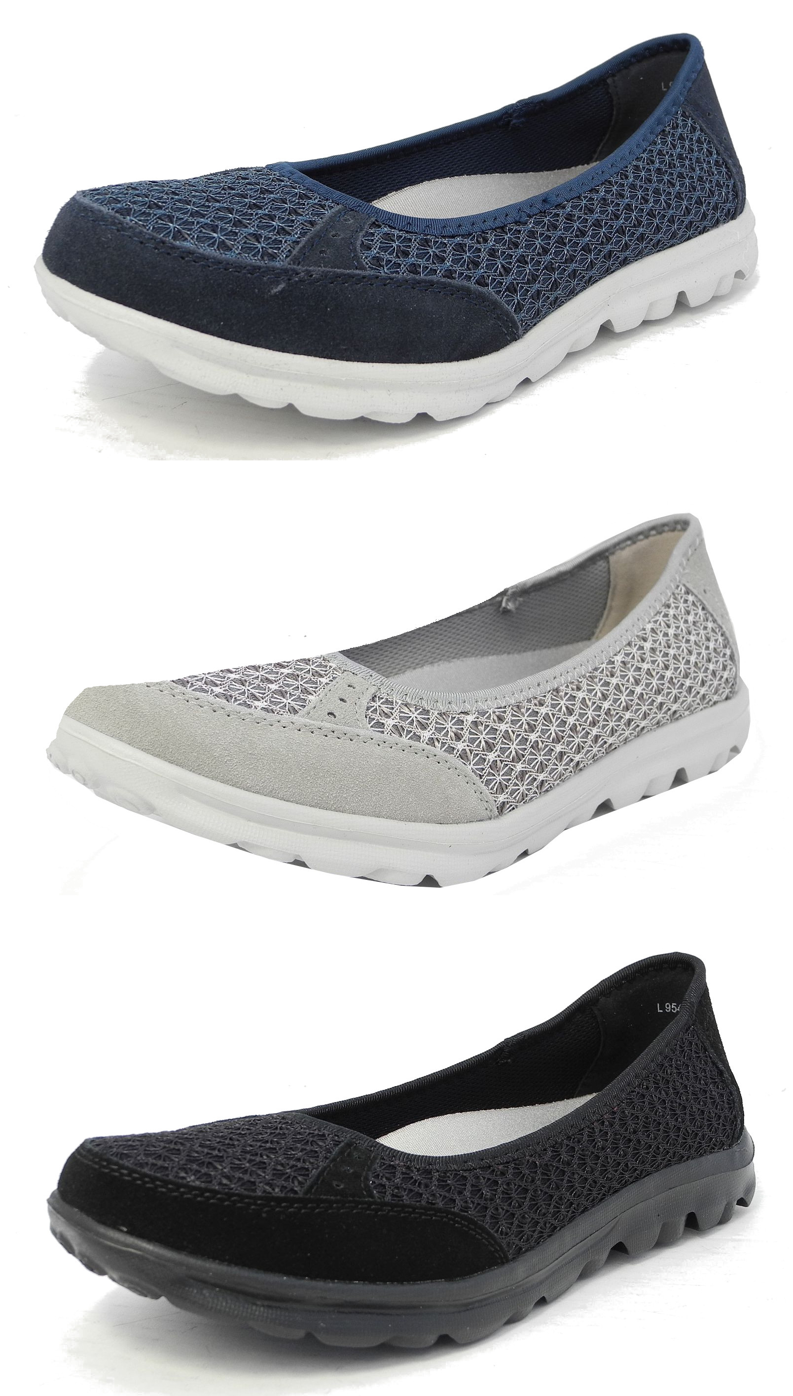 Ladies Slip On Elasticated Upper Leather Insole Lightweight Casual Shoes Low Heel Size 3-9