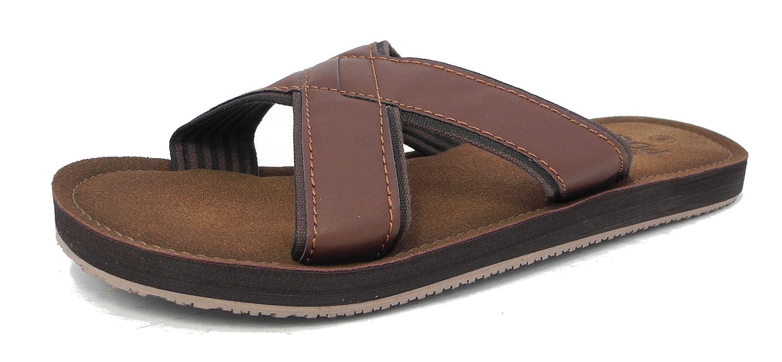 Mens Leather Look Mules Flip Flops Beach Summer Shoes -5592