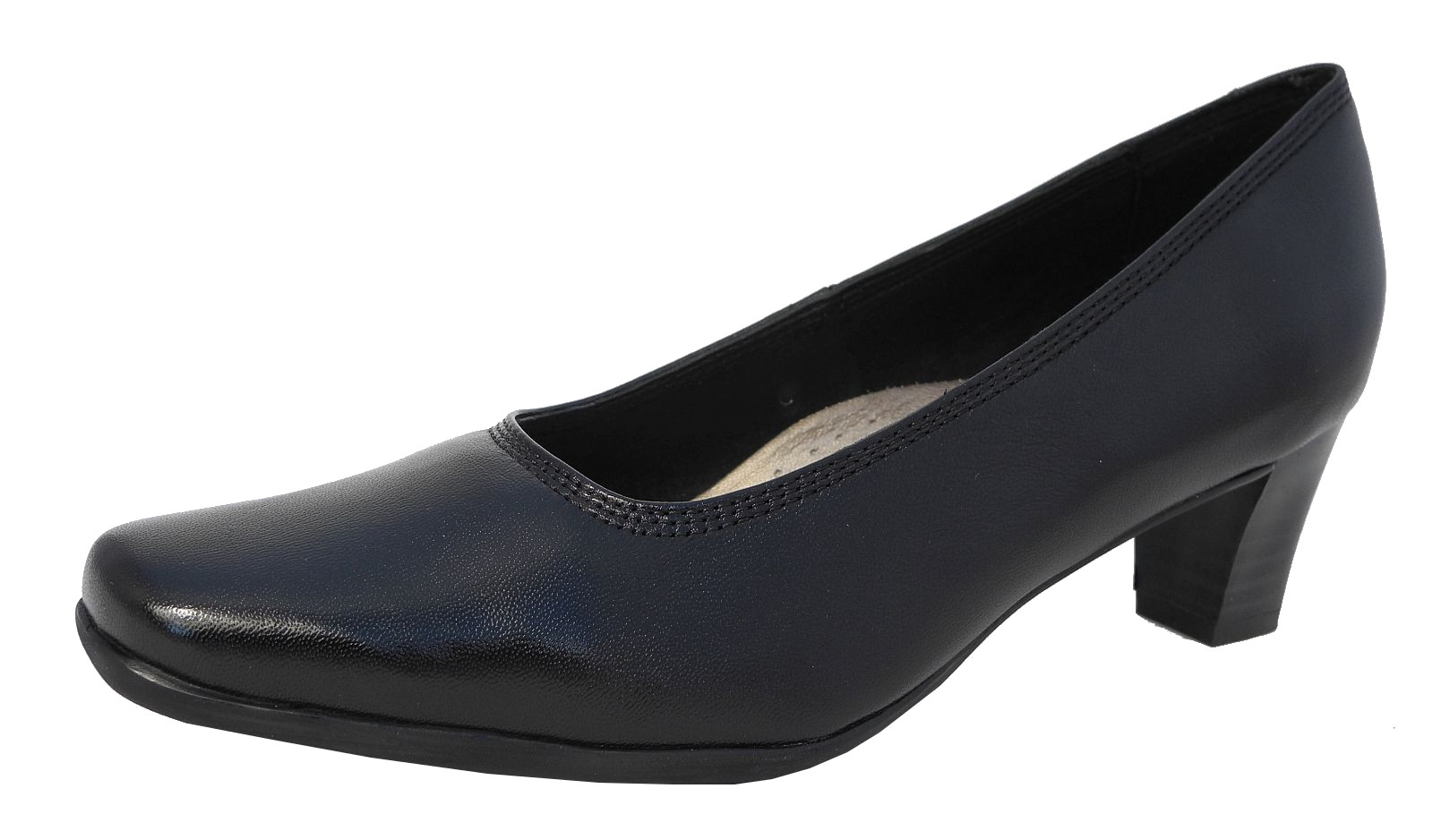 Womens Las Leather Lined Comfortable Black Low Heel Court Shoes Size 5 6 7