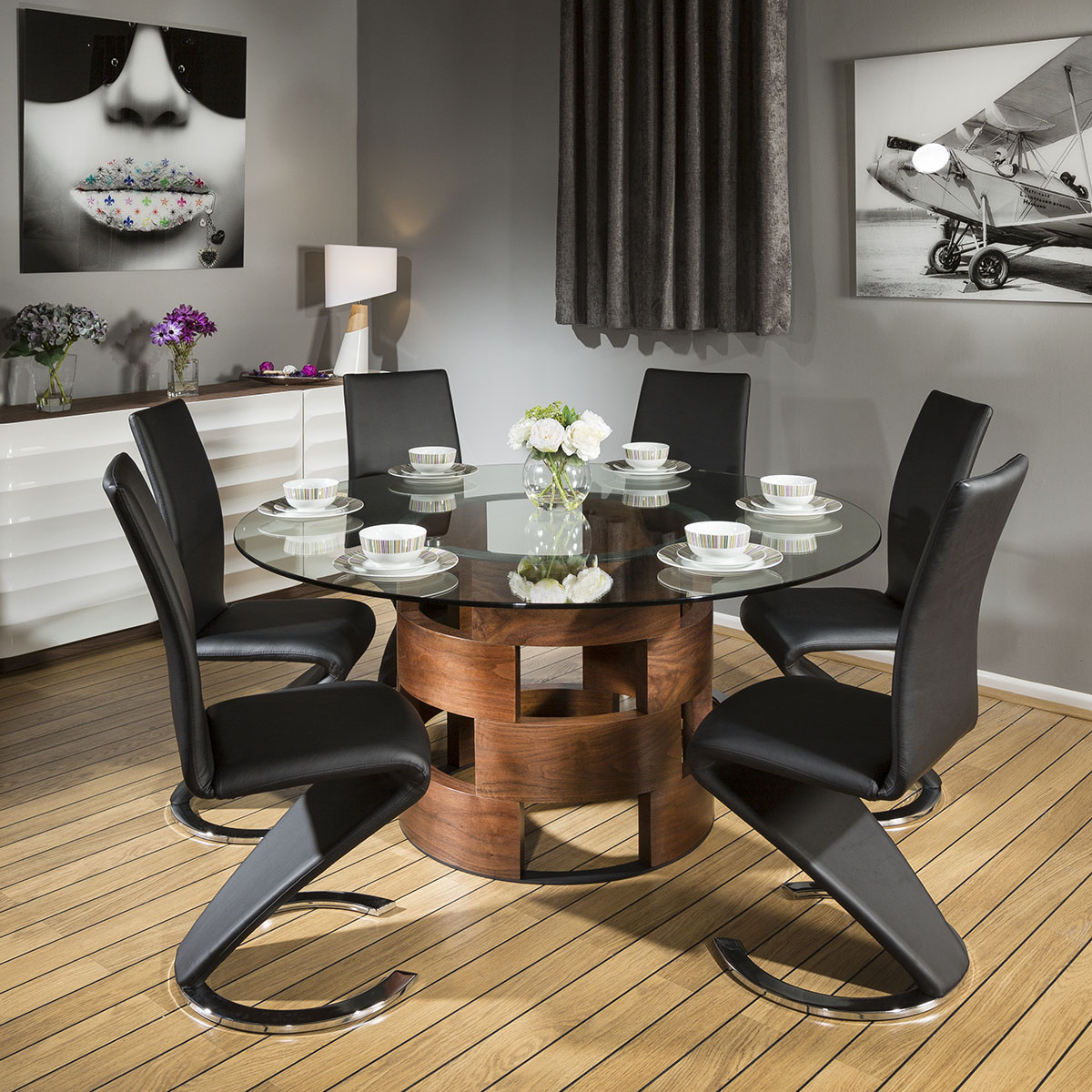 Sentinel Huge Round Glass Top Walnut Dining Table Set 6 Black Z Shaped Chairs