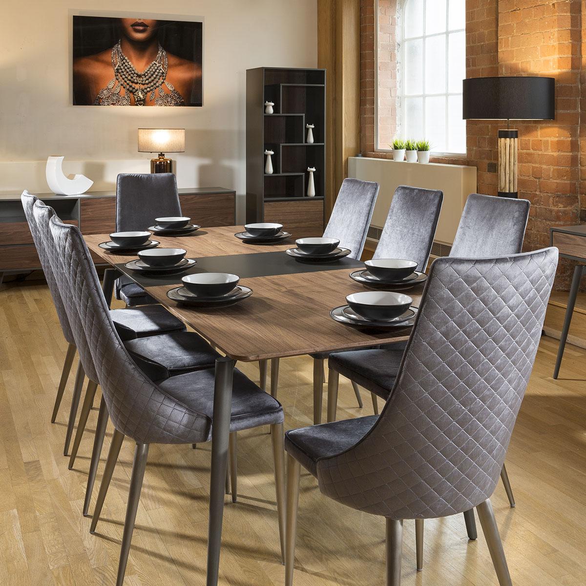 Set Of 2 Sleek Velvet High Back Modern Dining Chairs Grey
