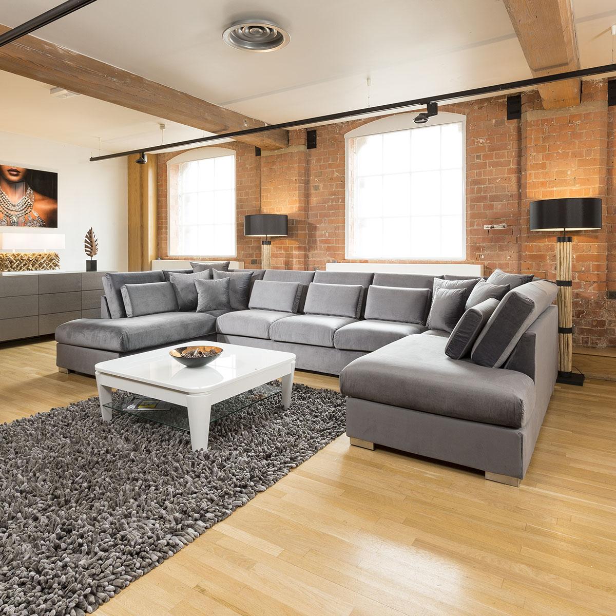 Sentinel Quatropi Ohio Luxury Extra Large U Shape Corner Sofa Velvet Fabric  81