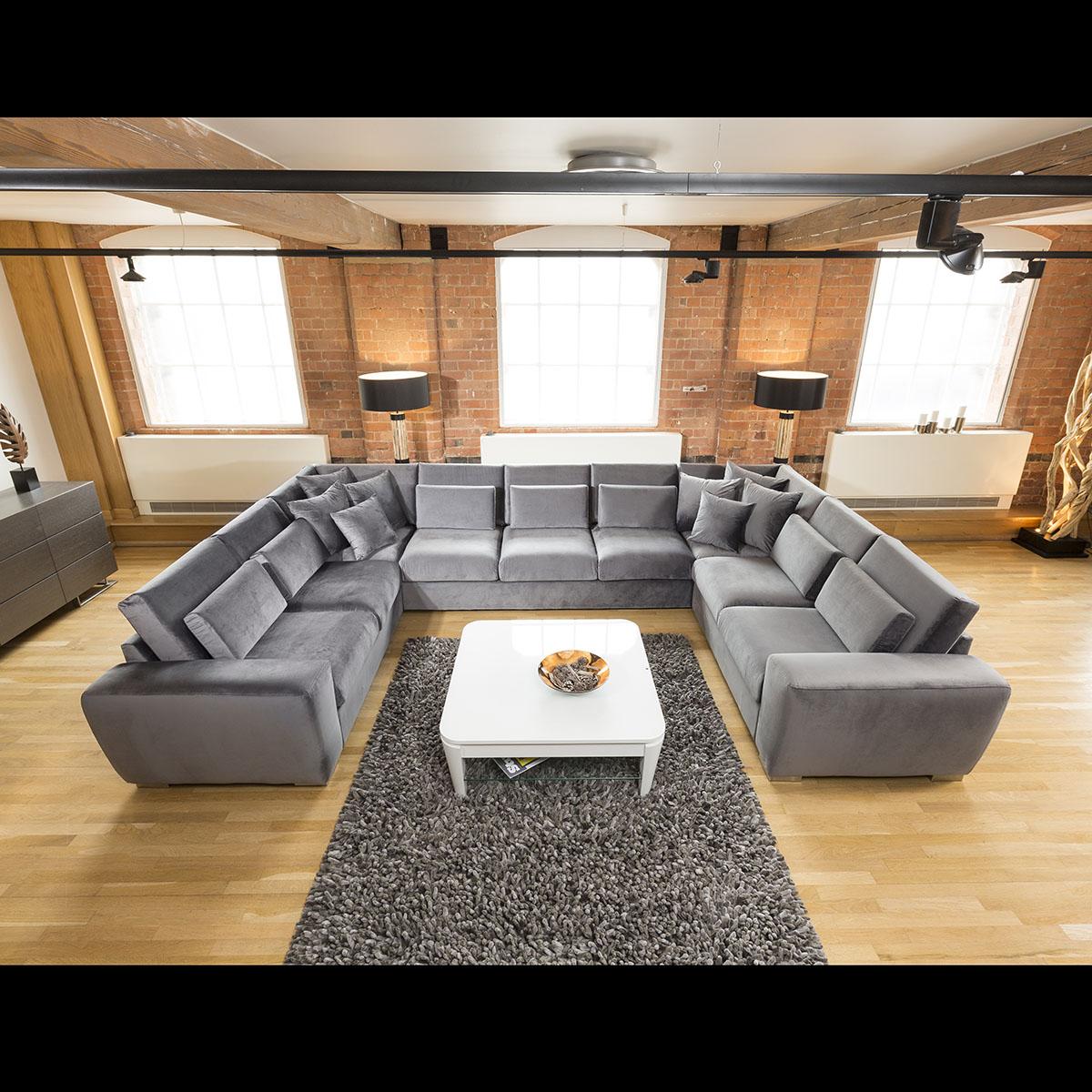 Sentinel Quatropi Ohio Luxury Massive U Shape Velvet Corner Sofa 9 Seater 55