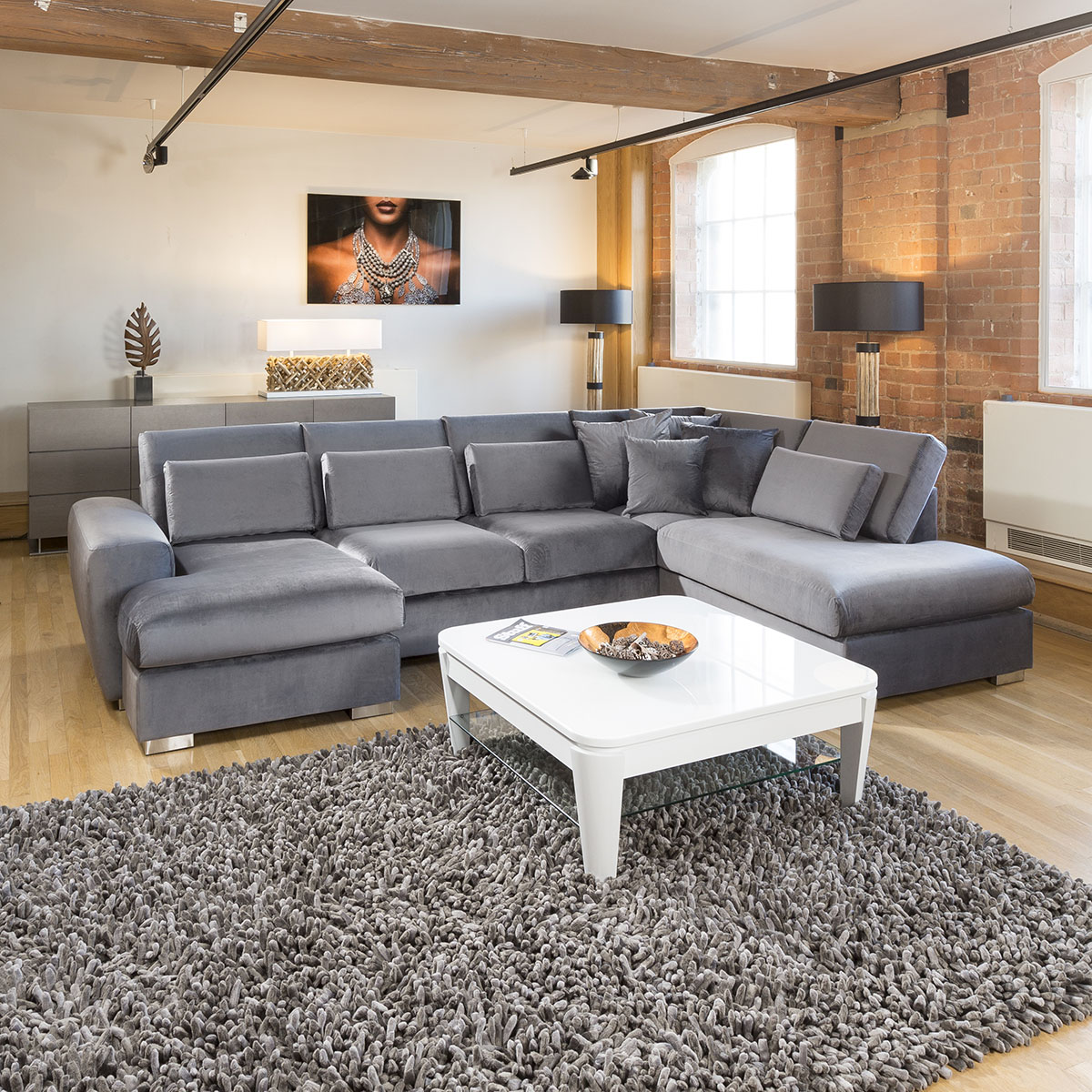 Large Corner Sofas Ebay Uk: Luxury Corner Sofa Velvet Quatropi Ohio Large 5 Seater L
