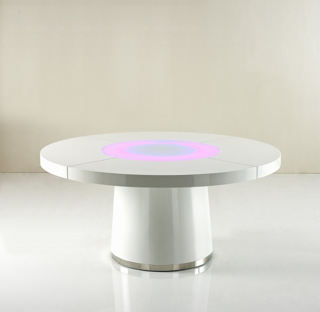 sentinel large round white gloss dining table glass lazy susan led lighting 16