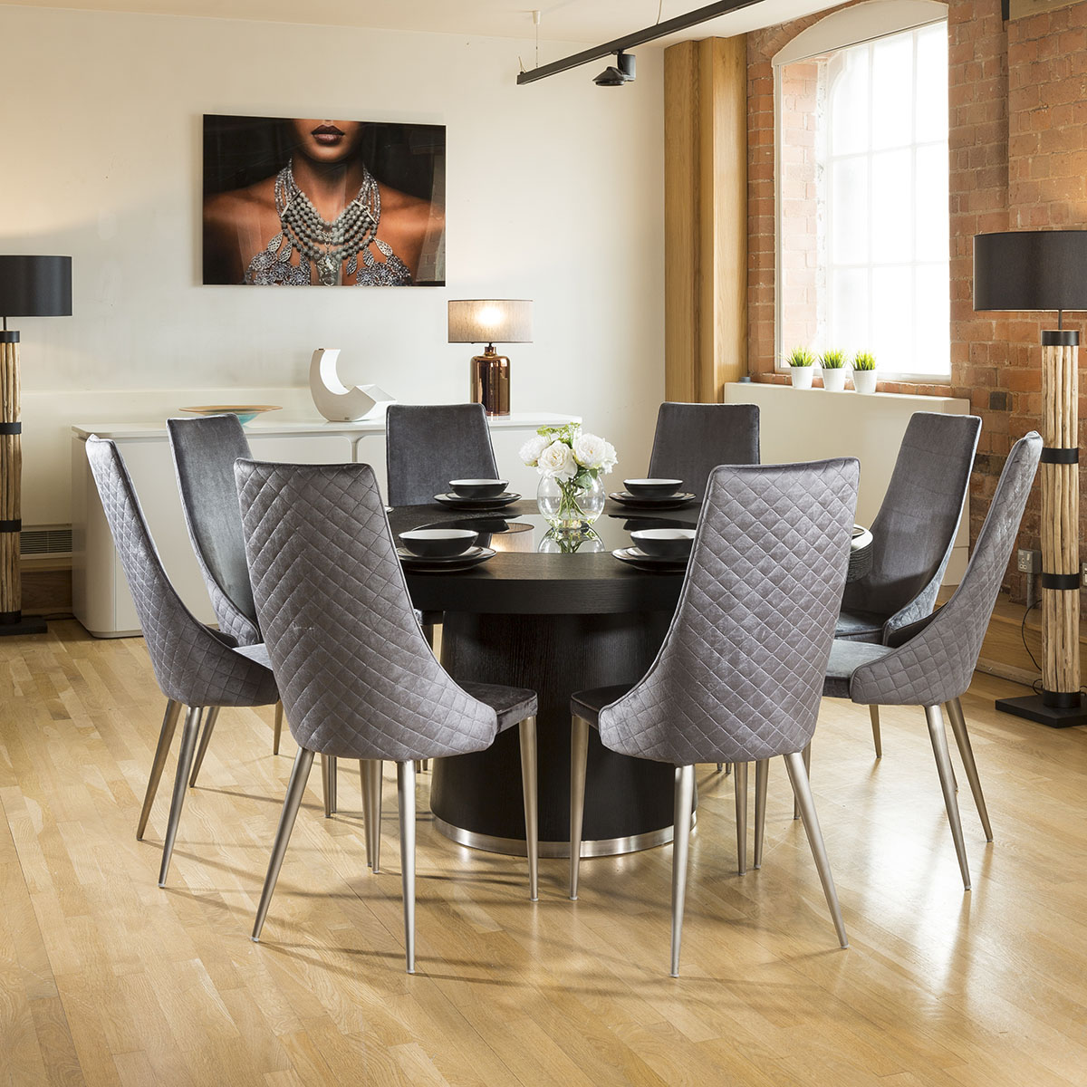 1 6 Round Black Oak Dining Set 8 High Grey Dining Chairs