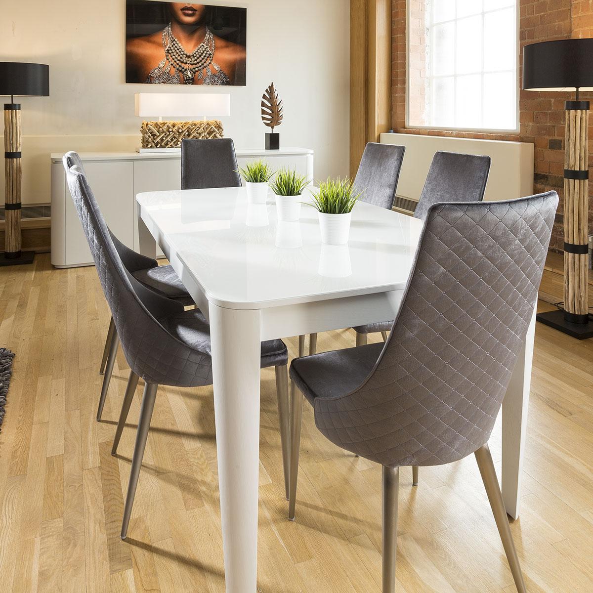 Luxury Extending Dining Set Glass Top Table 6 Tall Grey Velvet ...