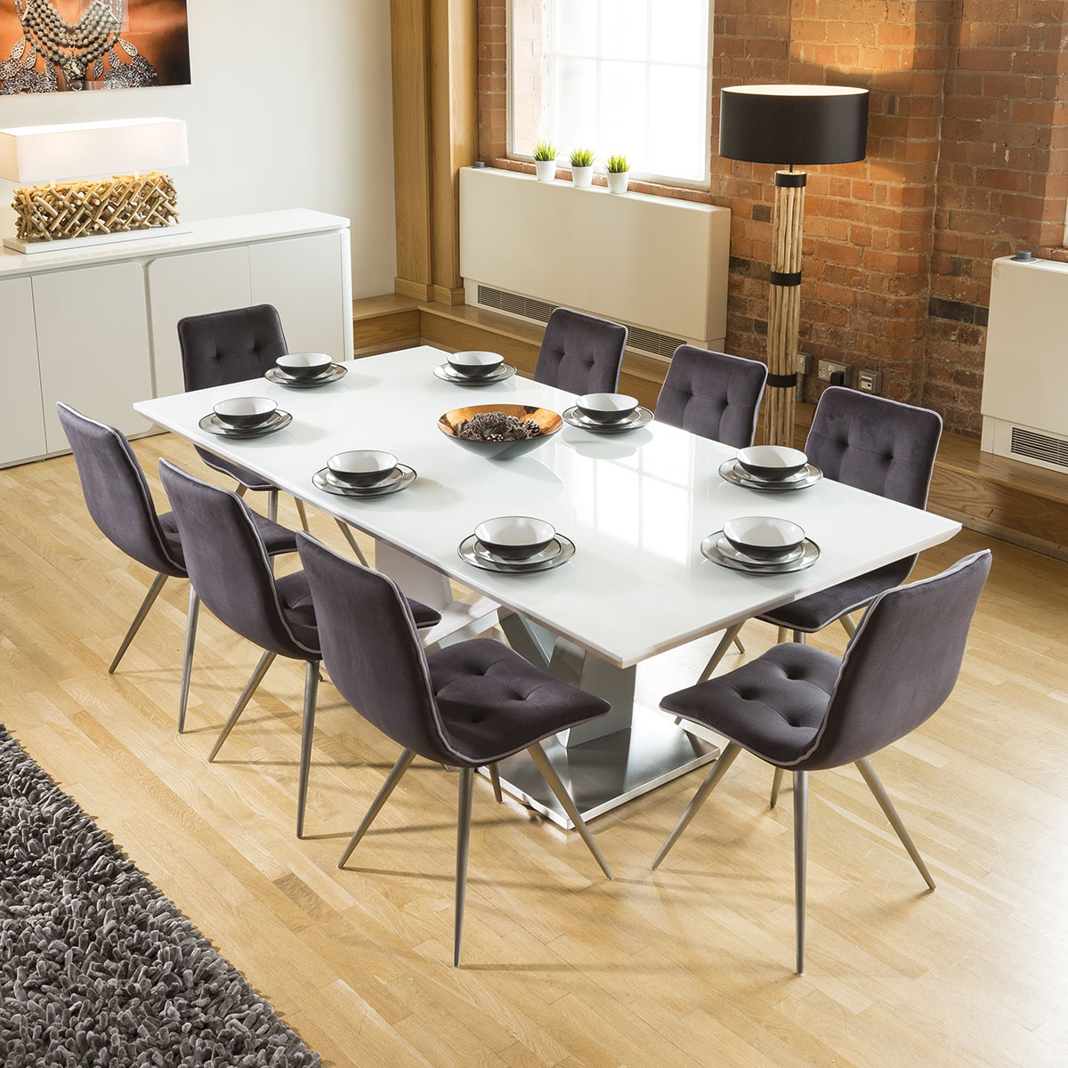 Glass Dining Table For 8: Large 8 Seater Dining Set 2.2mt White Glass Top Table 8