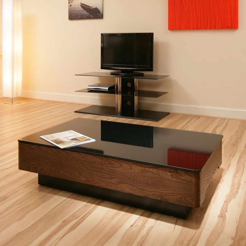 Lovely Sentinel Modern Elm Wooden Coffee Table / Tables Black Glass Top Beautiful  868A
