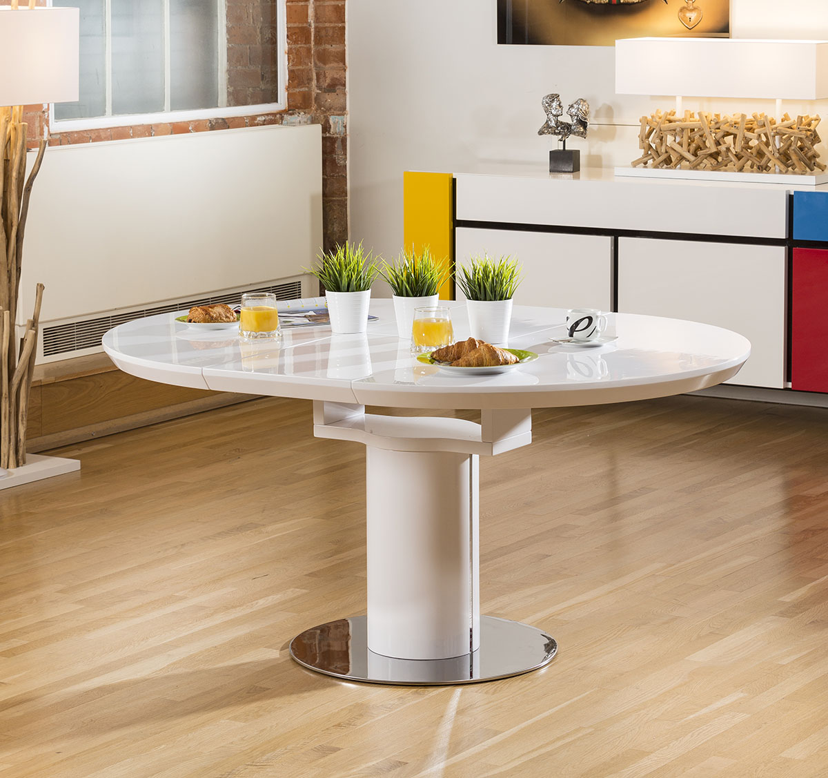 Extending Round Oval Dining Set White Gloss Table 6 Grey
