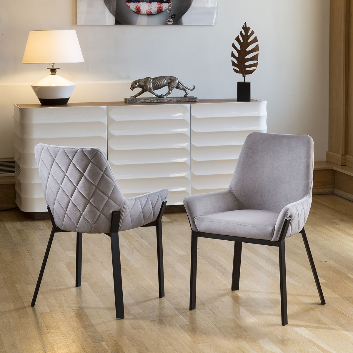 Cool Details About Set Of 2 Modern Luxury Carver Chairs Light Grey Matt Black Steel Legs Forskolin Free Trial Chair Design Images Forskolin Free Trialorg