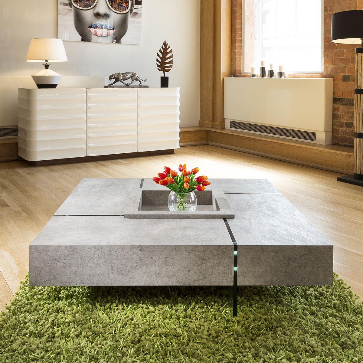 Quatropi Modern Large Square Concrete Coffee Table 1194 X 1194 X