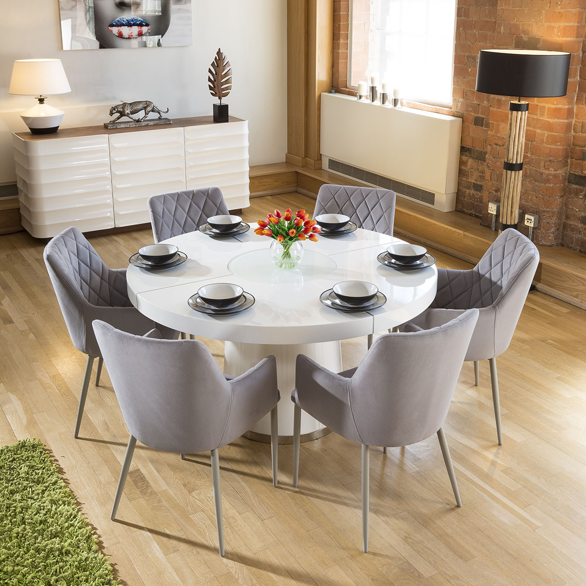 Details about Large White Circular 1.4 Dining Table +6 Ice Grey Carver  Chairs