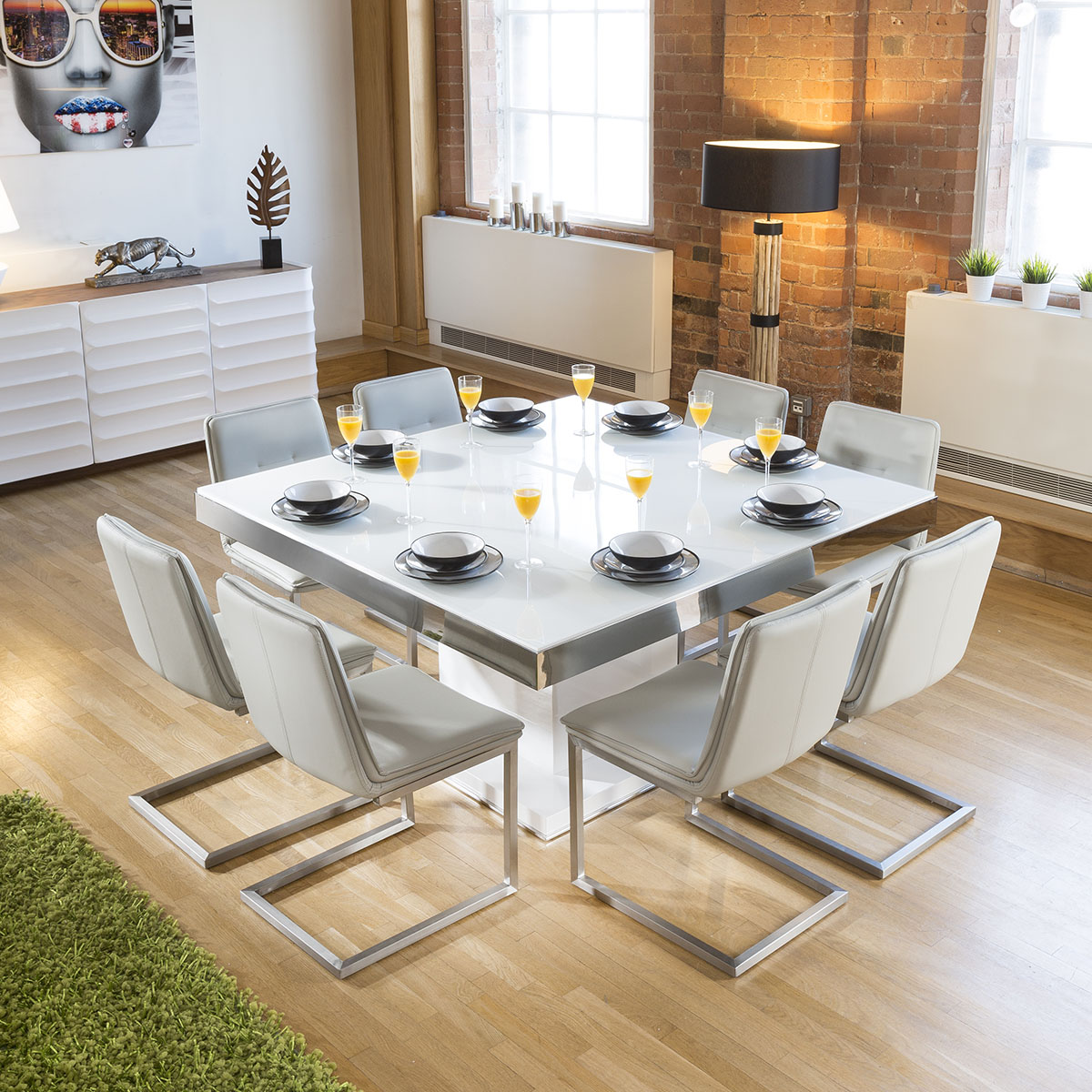Dining Table Seats 8: Large Square White Glass Gloss Dining Table + 8 Ice