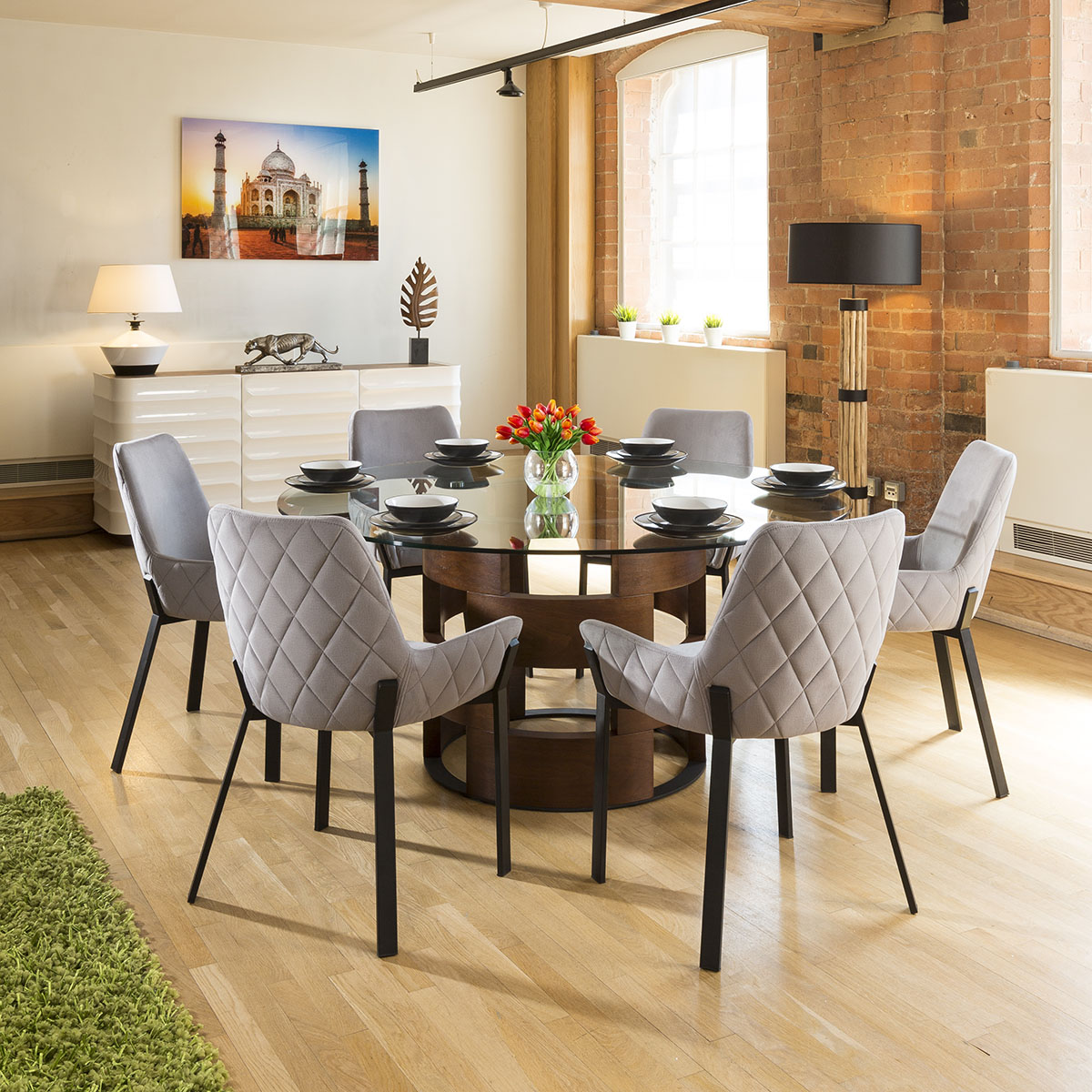 Huge Round Glass Top Walnut Dining Table Set 6 Light Grey Chairs