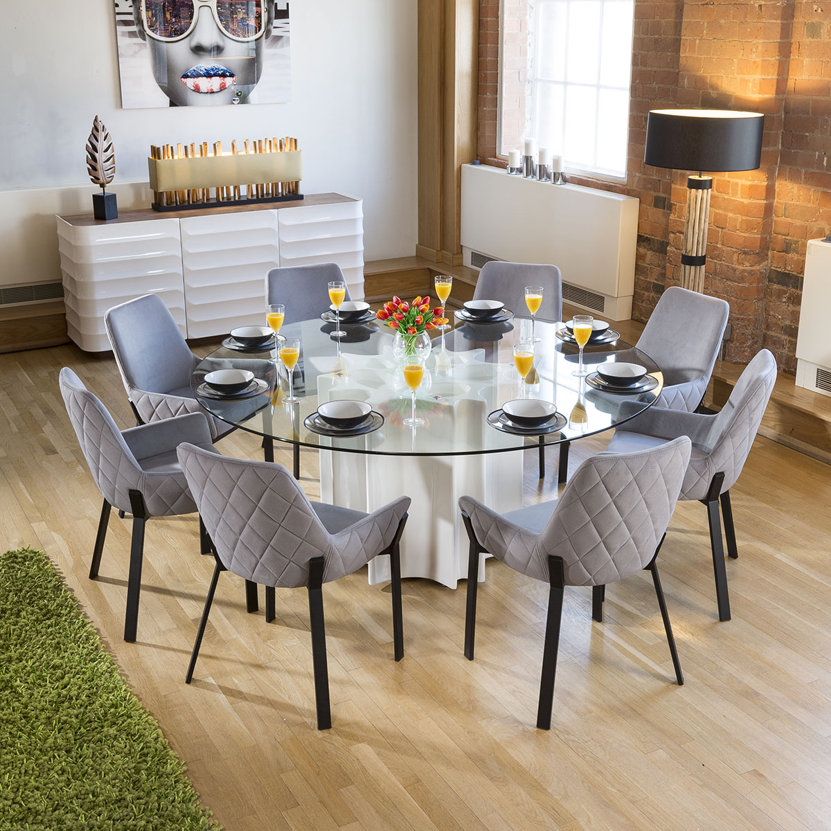 Details About Round Gl Top White Gloss Dining Table 8 Light Grey Carver Chair