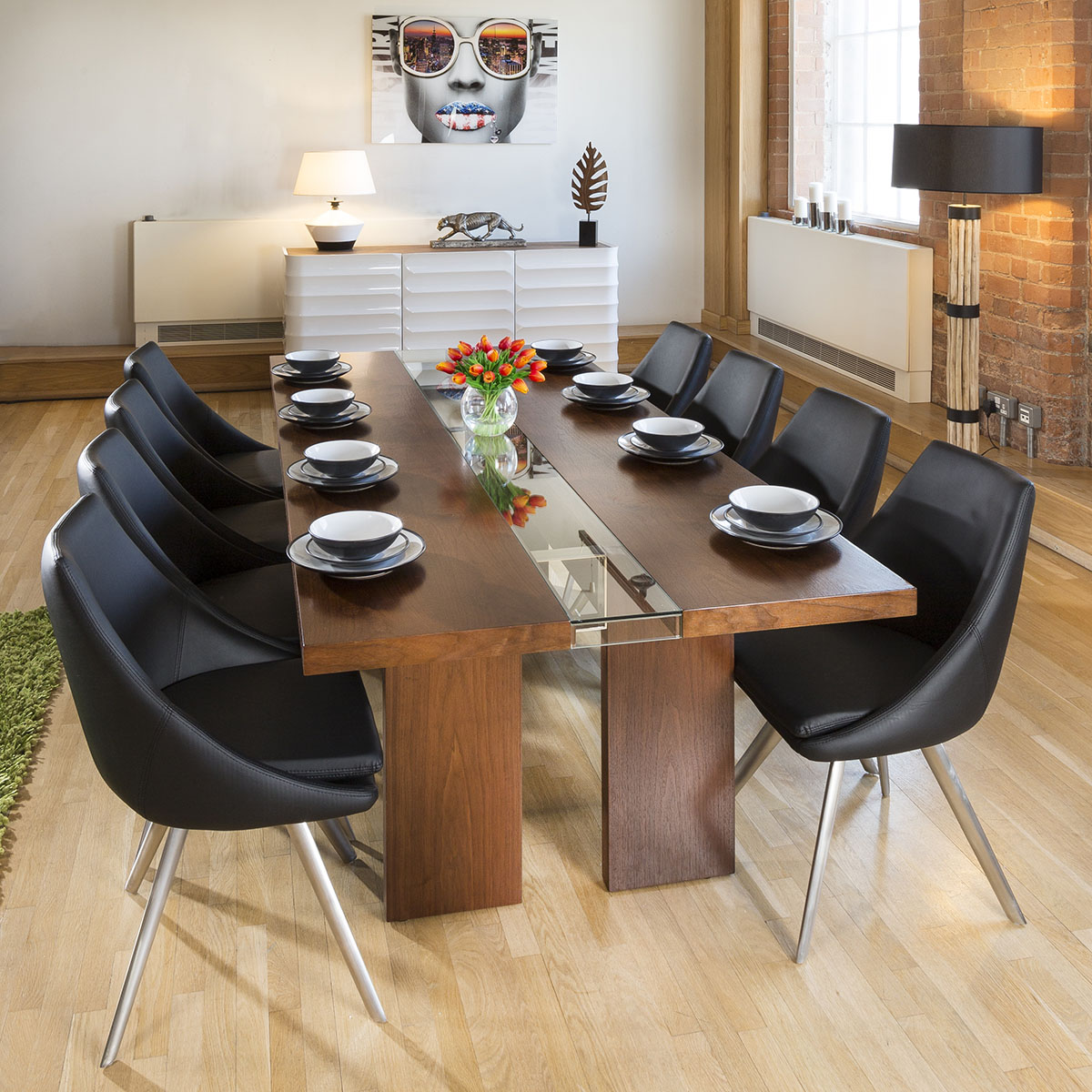 Walnut And Gl Dining Tables Table Design Ideas