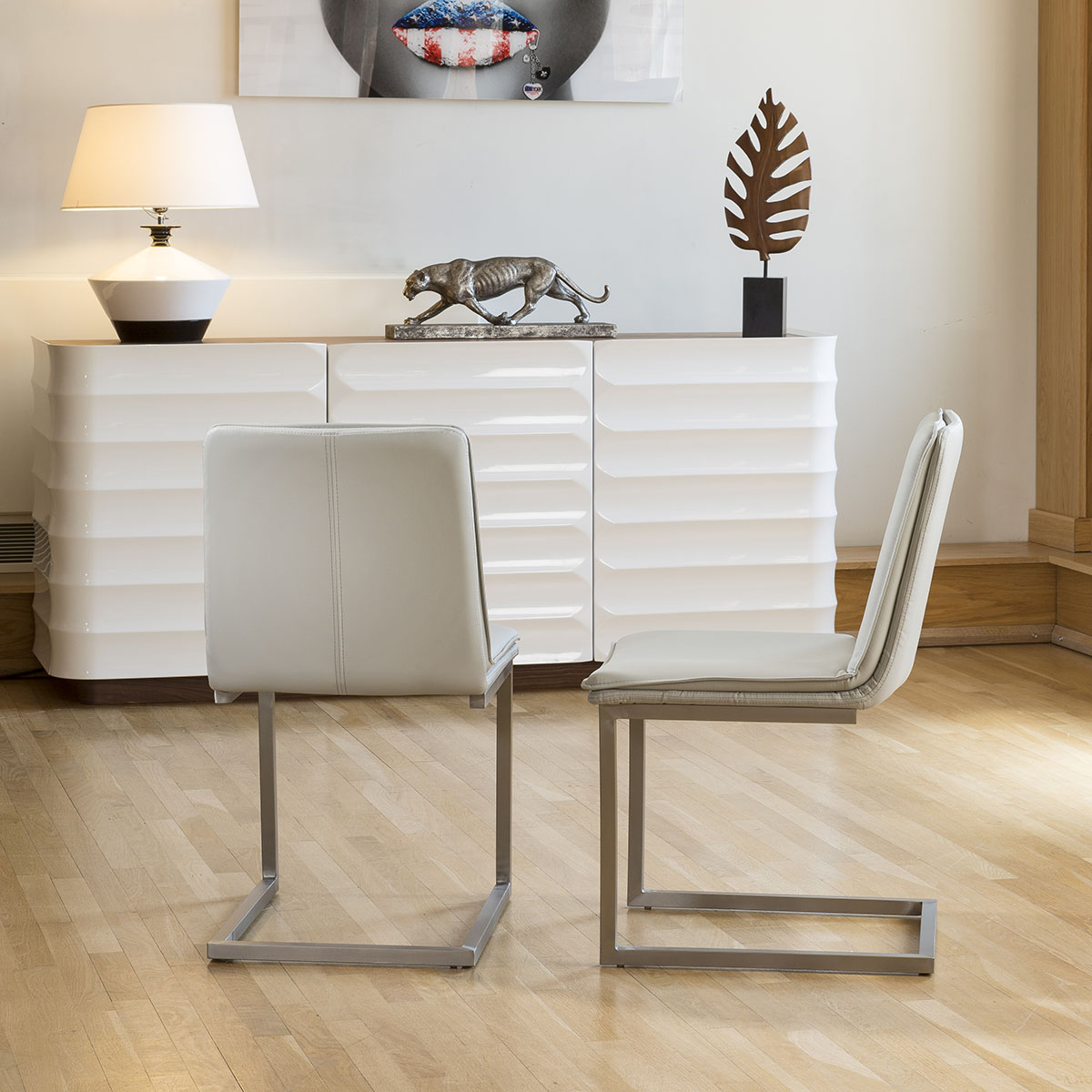a58f80cf31 Sentinel White Glass Top Extending Dining Table + 6 Ice Grey Cantilever  Chairs