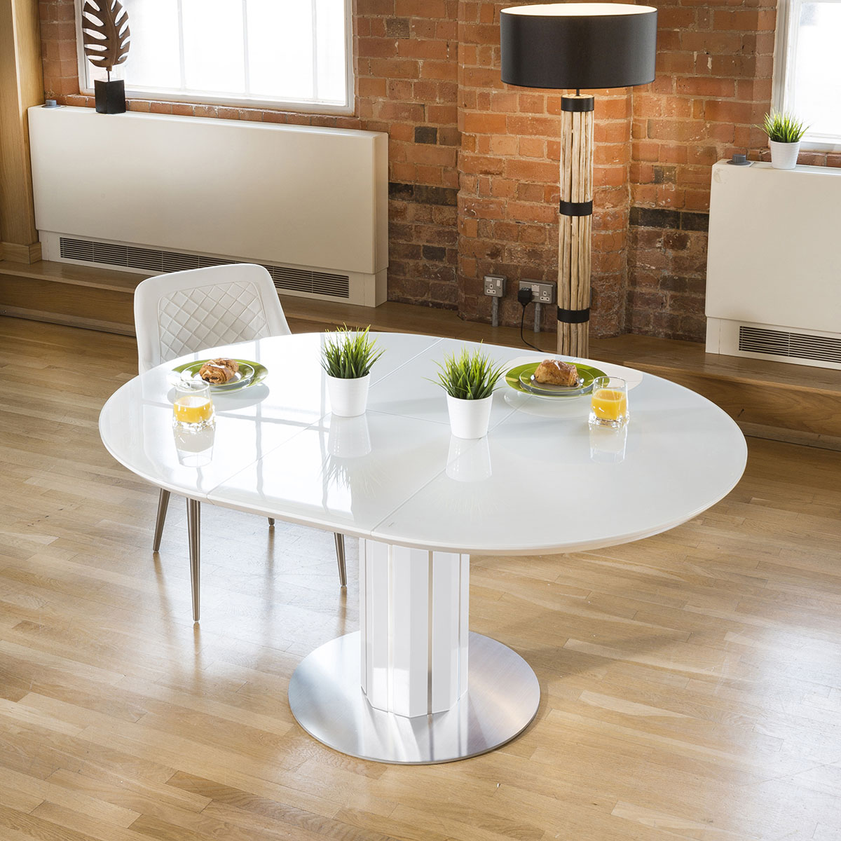 Details About Luxury Extending White Gl Topped Round Dining Table From Quatropi