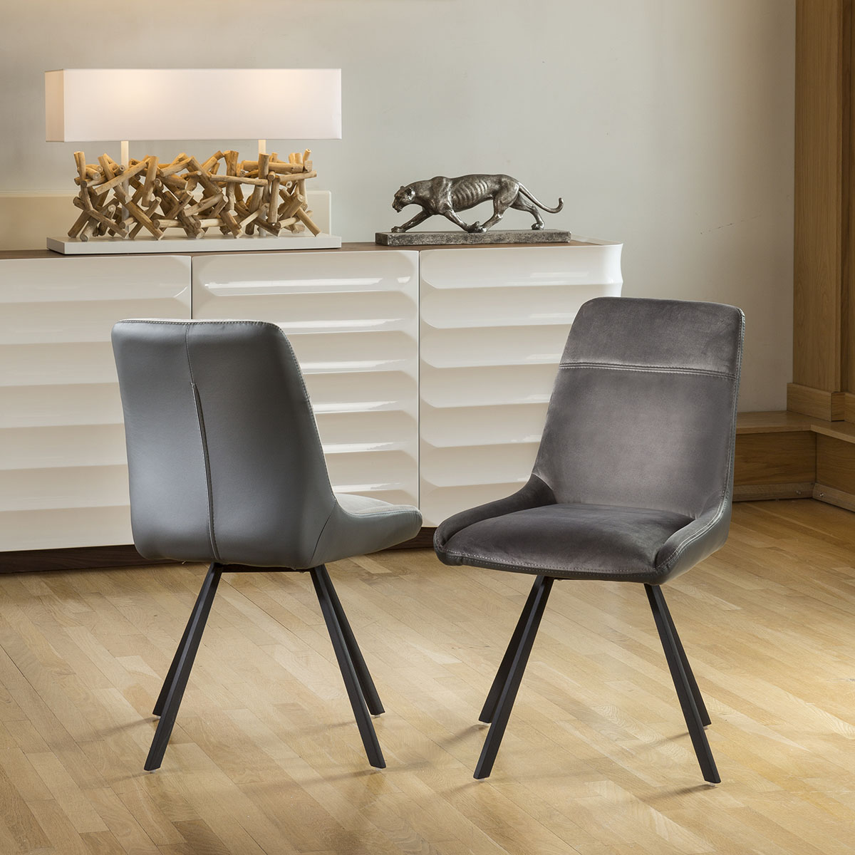 Swell Details About Set Of 2 Stylish Quatropi 360 Swivel Dining Chairs Grey Fabric 7250 Ncnpc Chair Design For Home Ncnpcorg