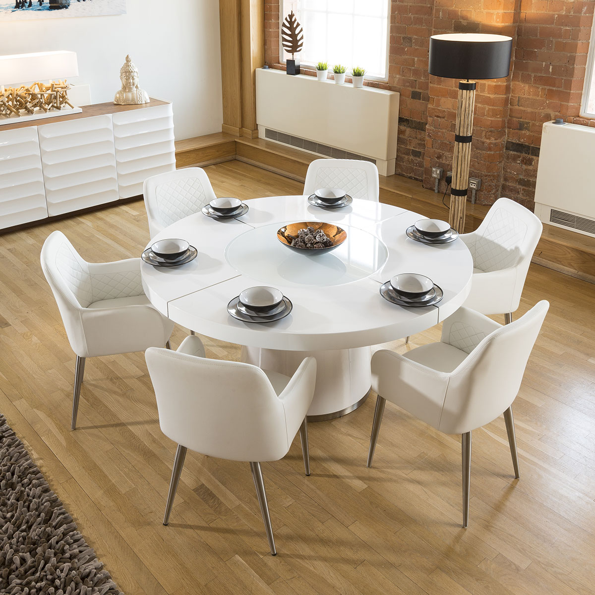 b5c24af56af7 Sentinel Large Round White Gloss Dining Table Lazy Susan
