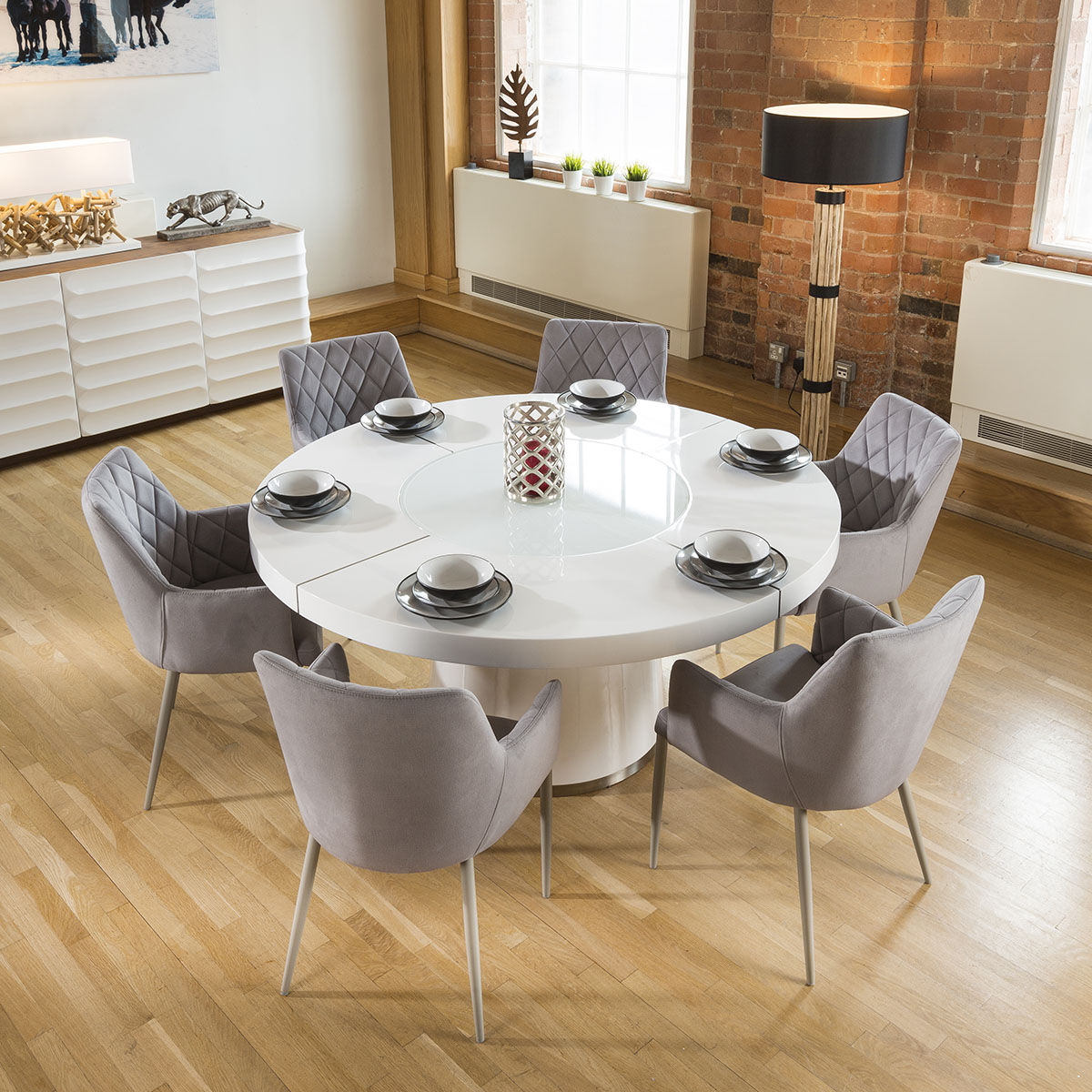 White Gloss Dining Table Lazy Susan