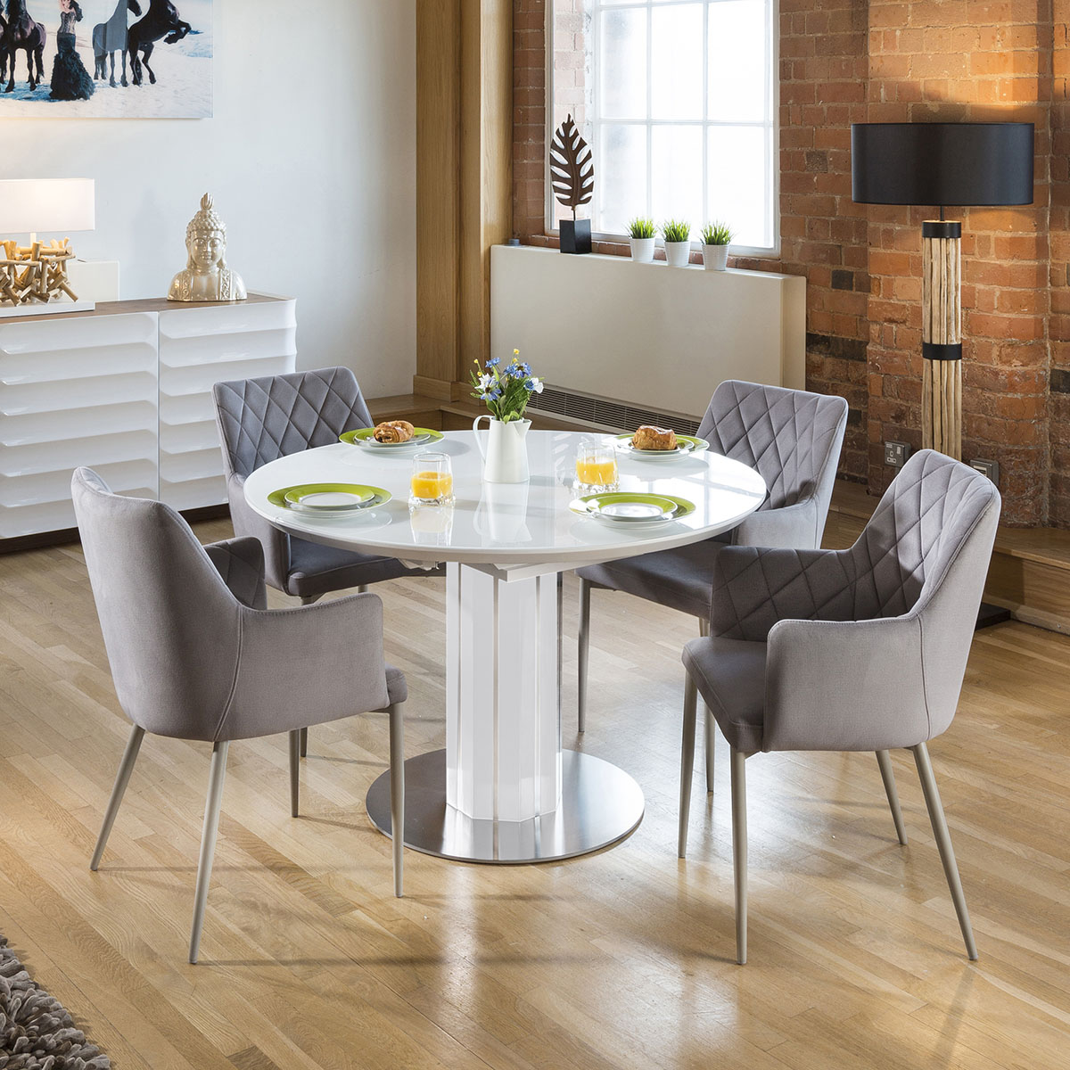 Details About Modern Extending Dining Set Oval Round Glass Wht Table 4 Ice Chairs