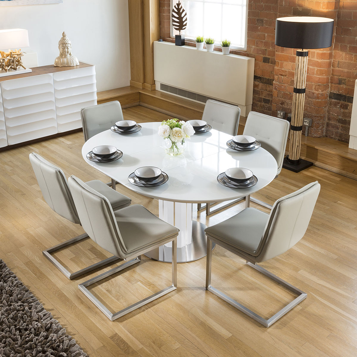 Modern Extending Dining Set Oval / Round Glass Wht Table 6 ...